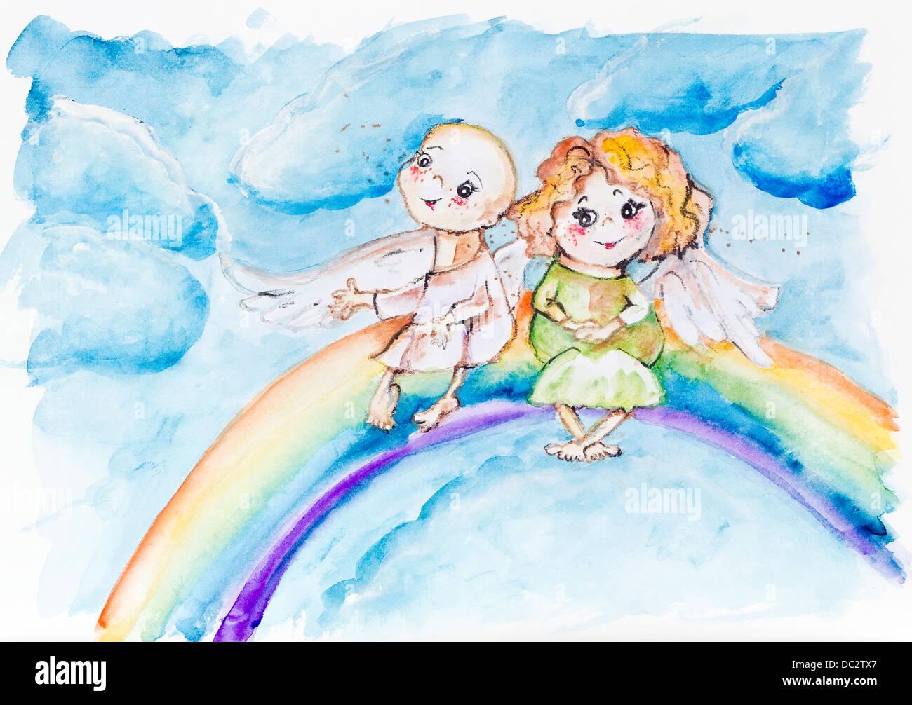 Gracioso Arco Iris ángeles Niños En Concepto De Cielo Pintura