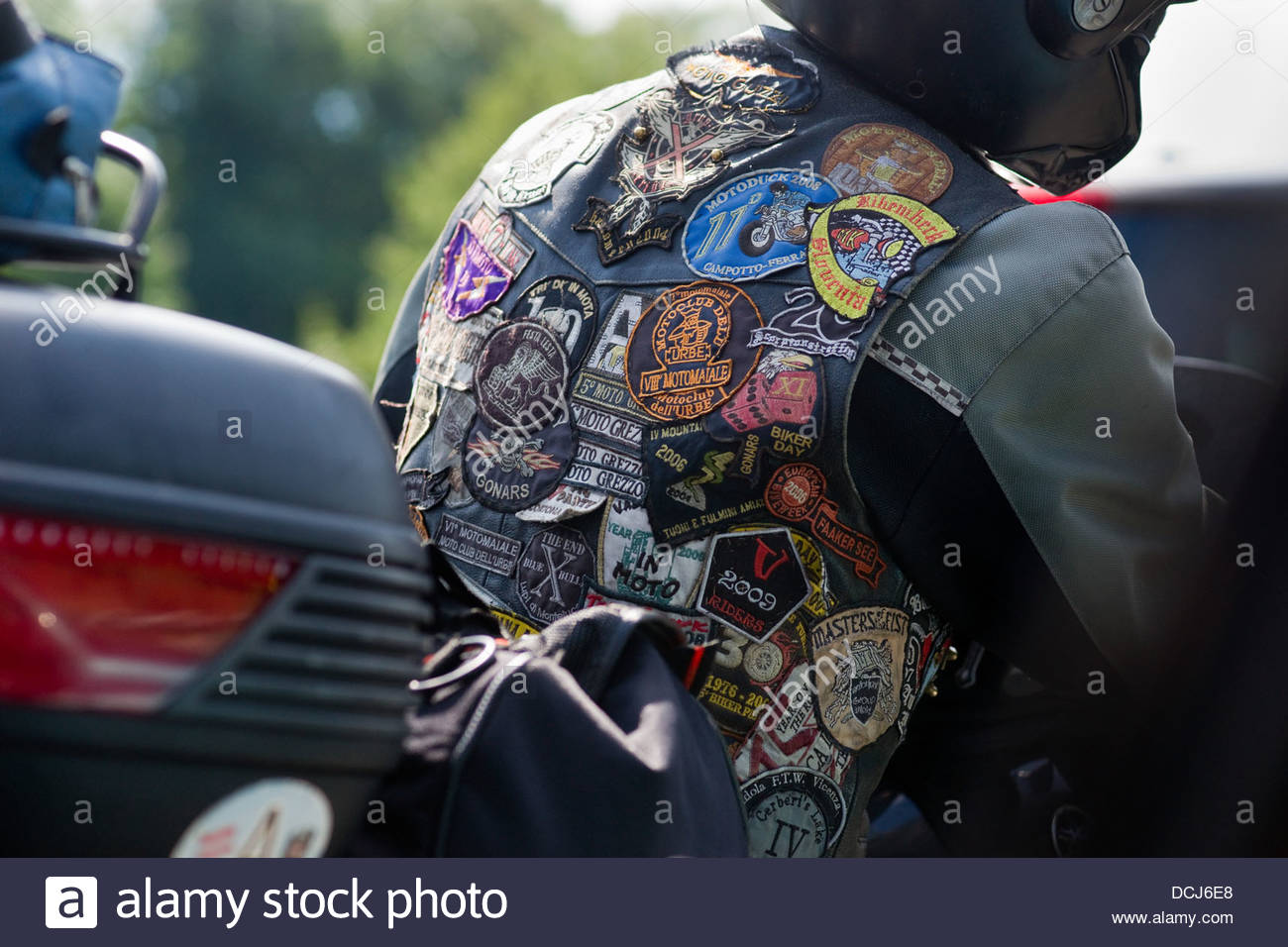 Hombre Imagen Moto Chaqueta Cuero Stock Rider Foto Parches amp; De 5RRwnq6g