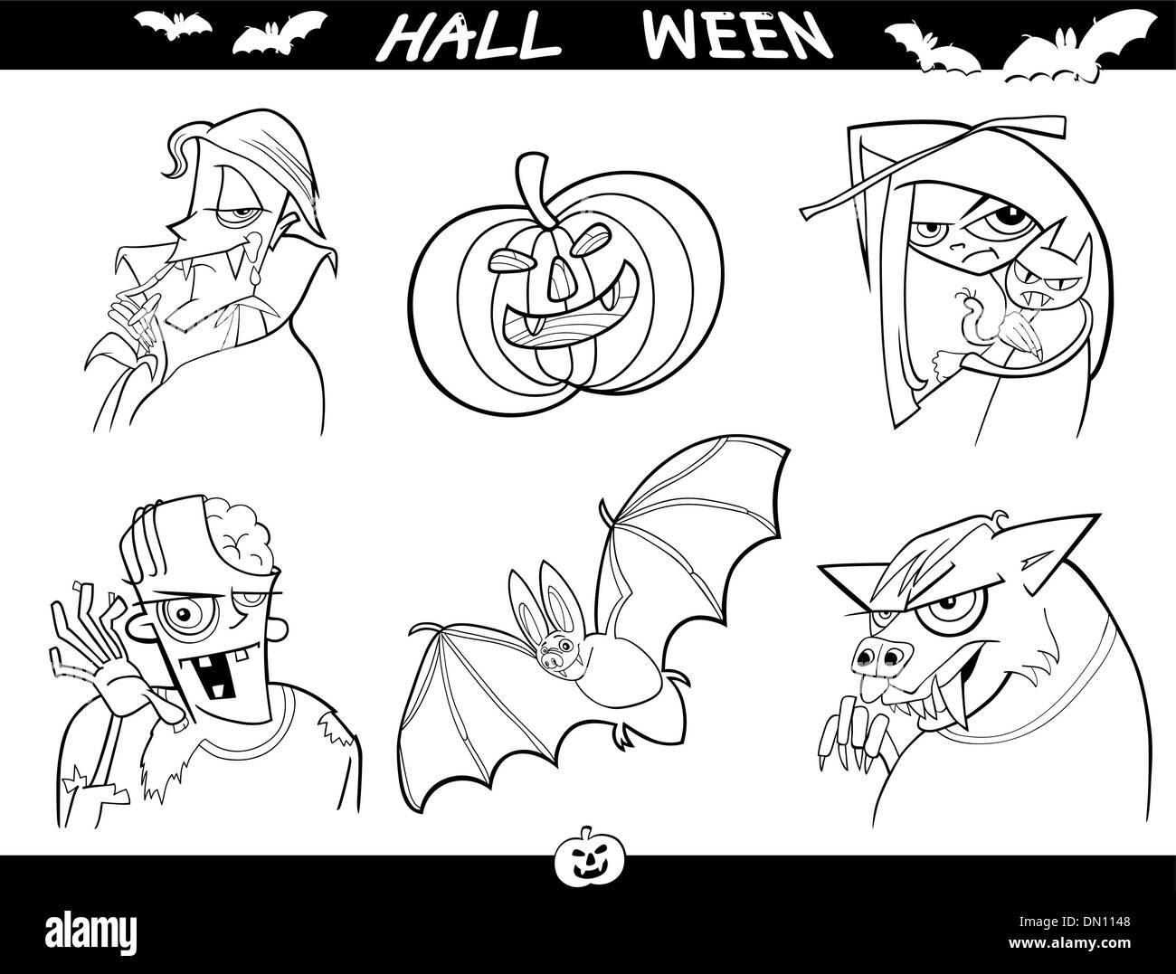 Temas de dibujos animados de Halloween para colorear Ilustración del ...