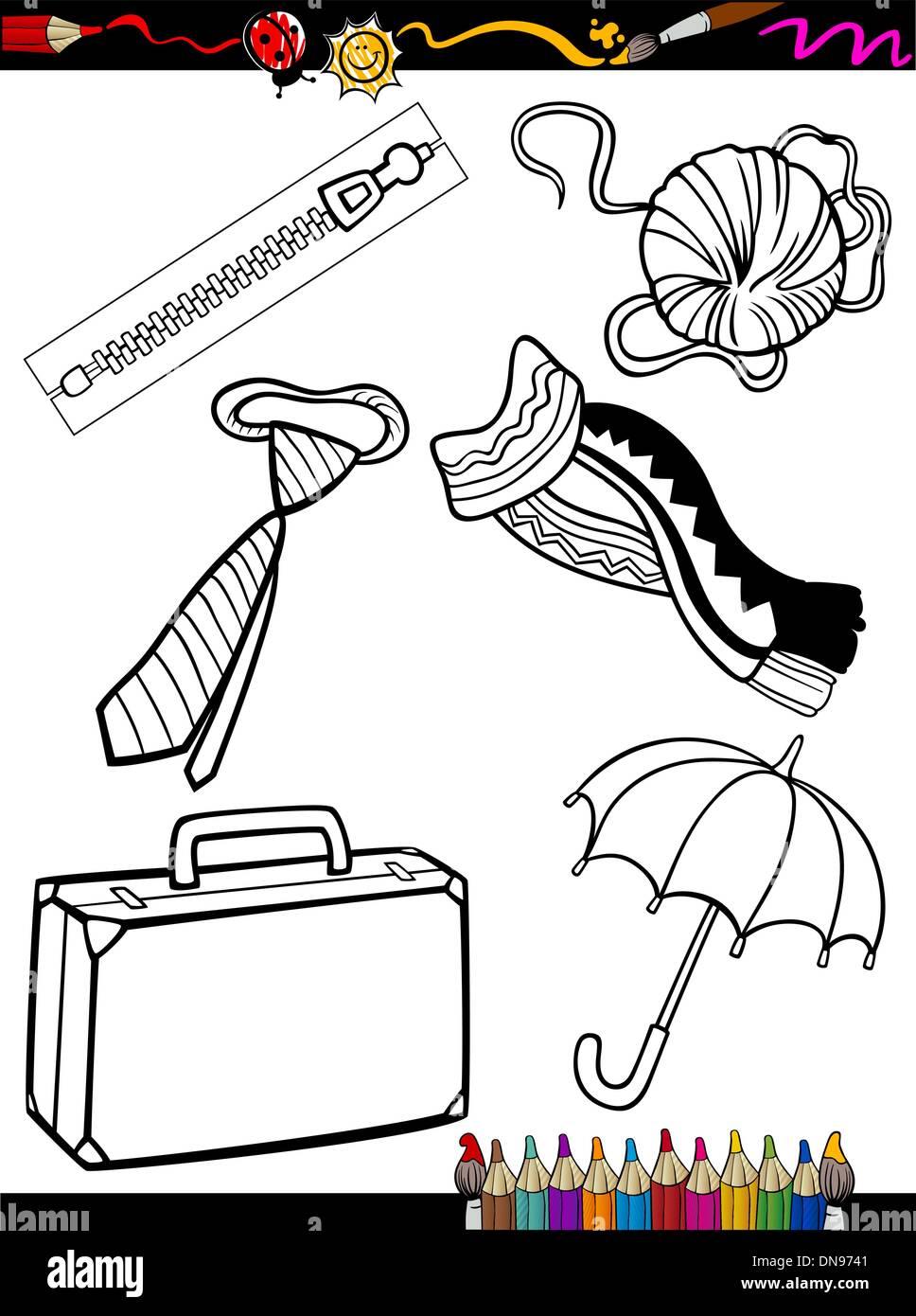 Página para colorear objetos animados Ilustración del Vector, Imagen ...