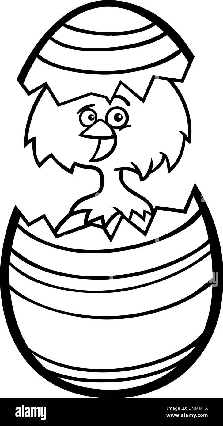 Ilustración caricatura en blanco y negro de pollo o Gracioso ...