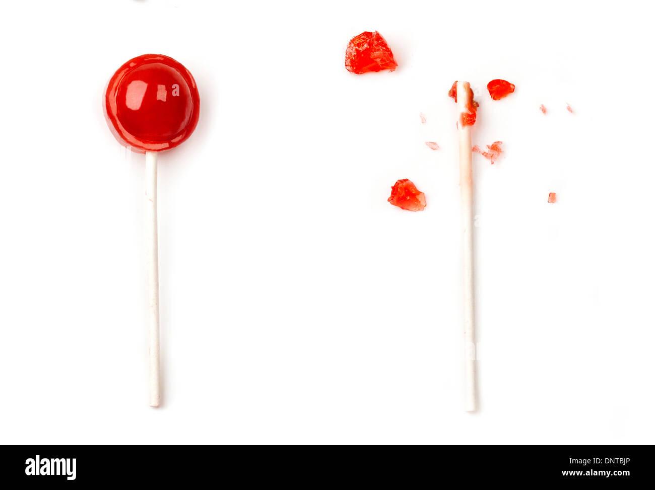 Comido Tootsie Roll pop Imagen De Stock