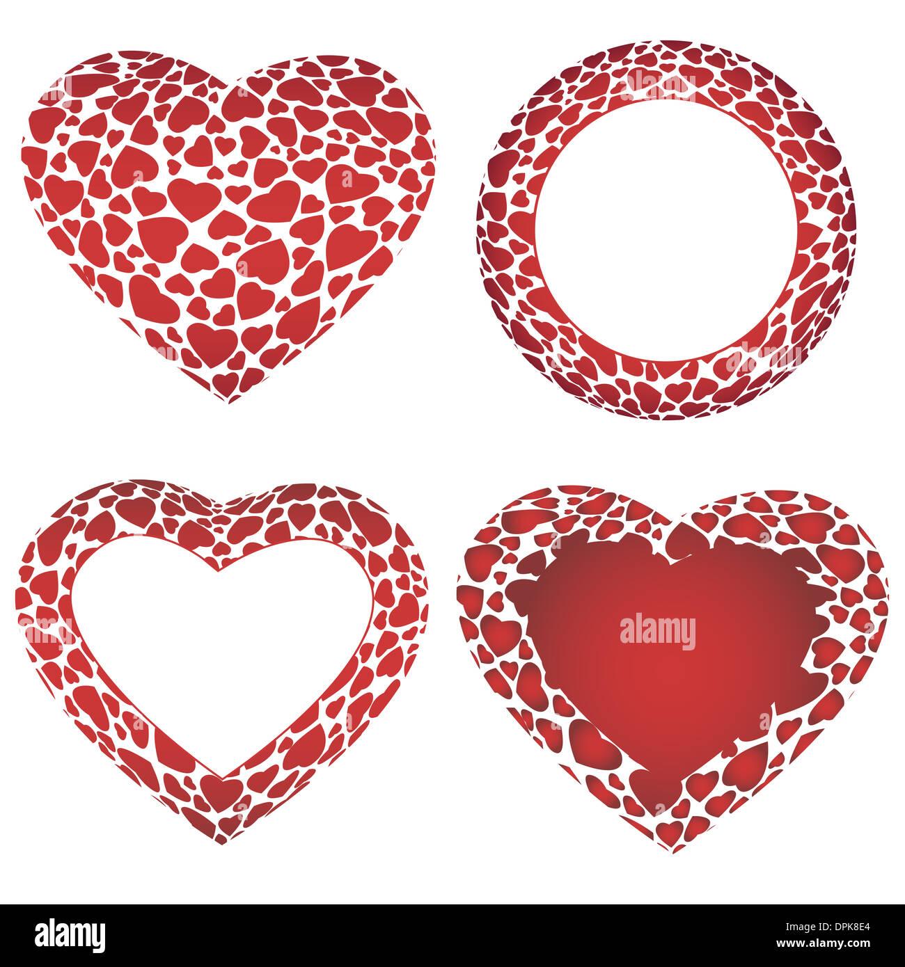 Volumen 3D de gran corazón y un círculo de marcos, se componía de ...