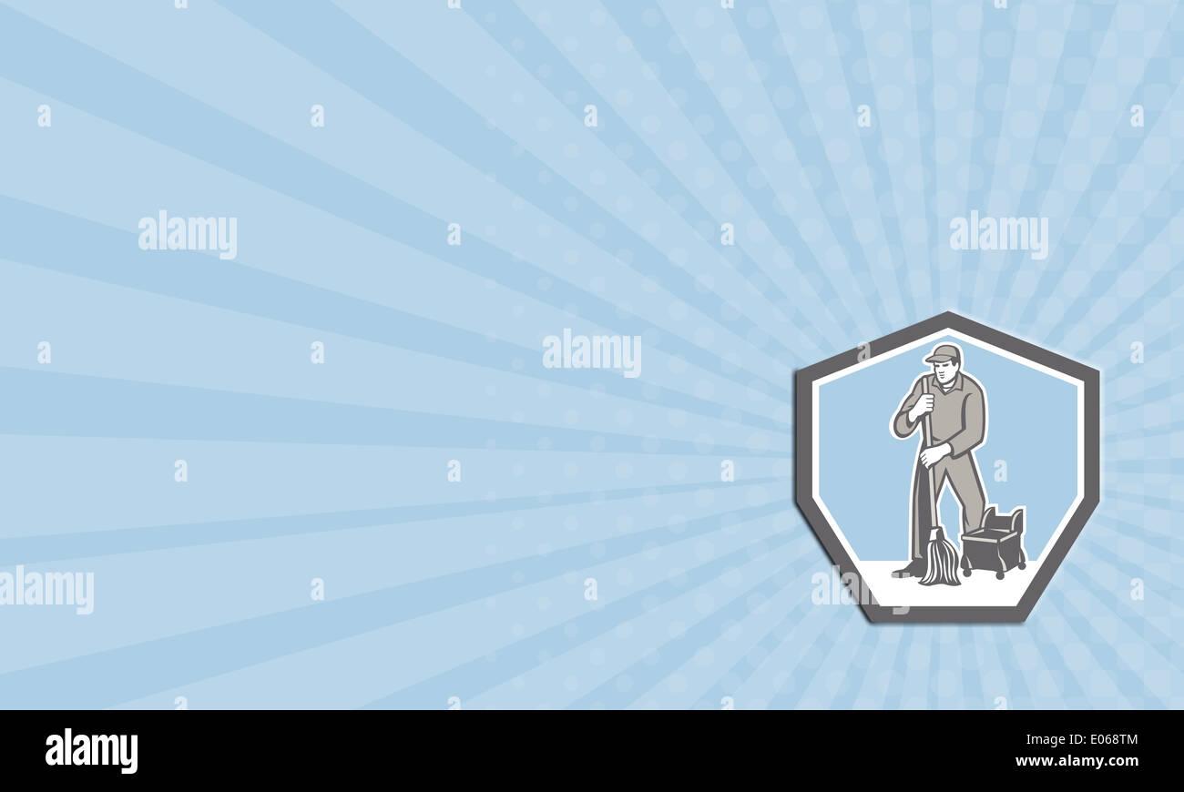 ilustración de una tarjeta de negocios masculino portero trabajador