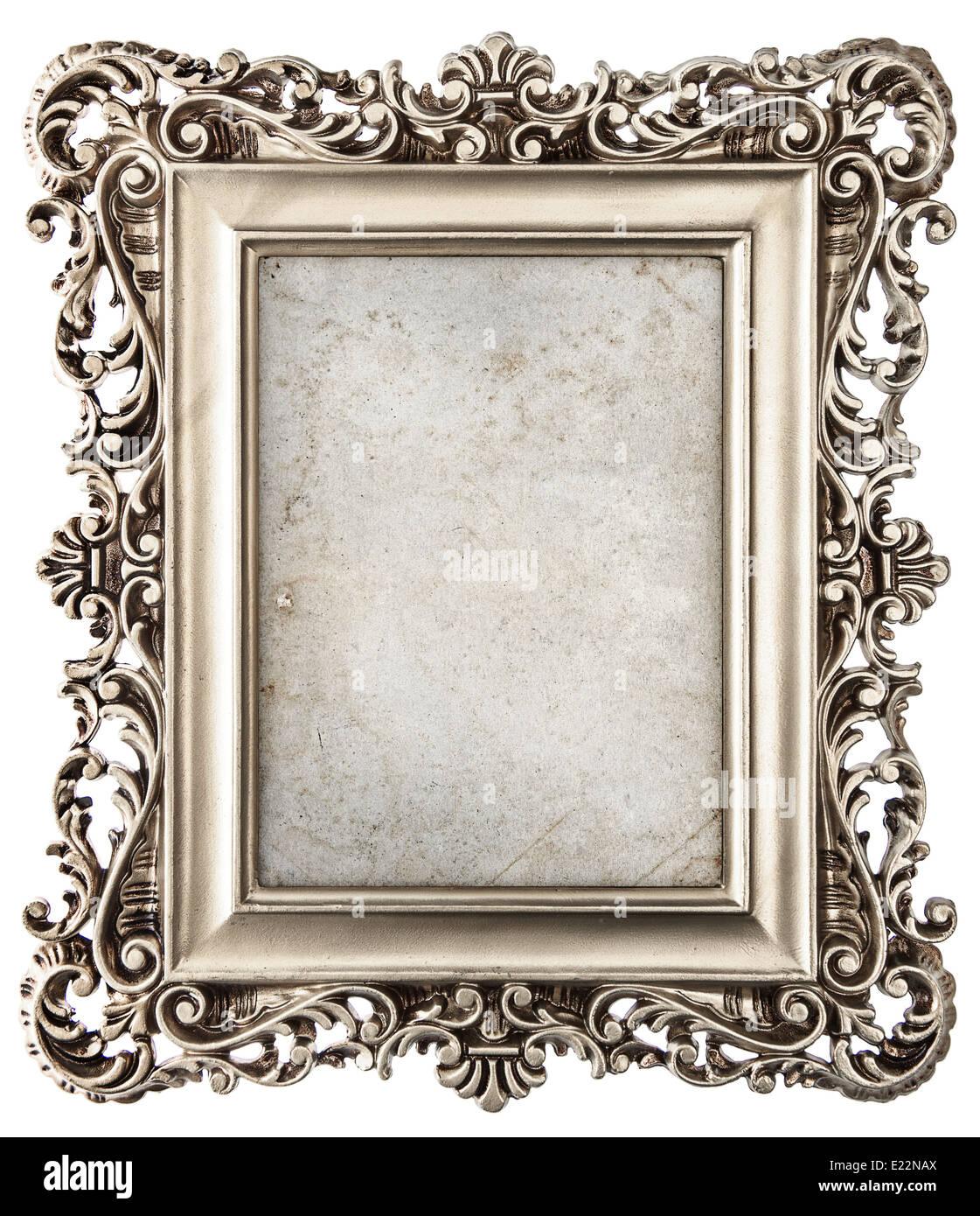 Marco de fotos de plata de estilo barroco aislado sobre fondo blanco ...