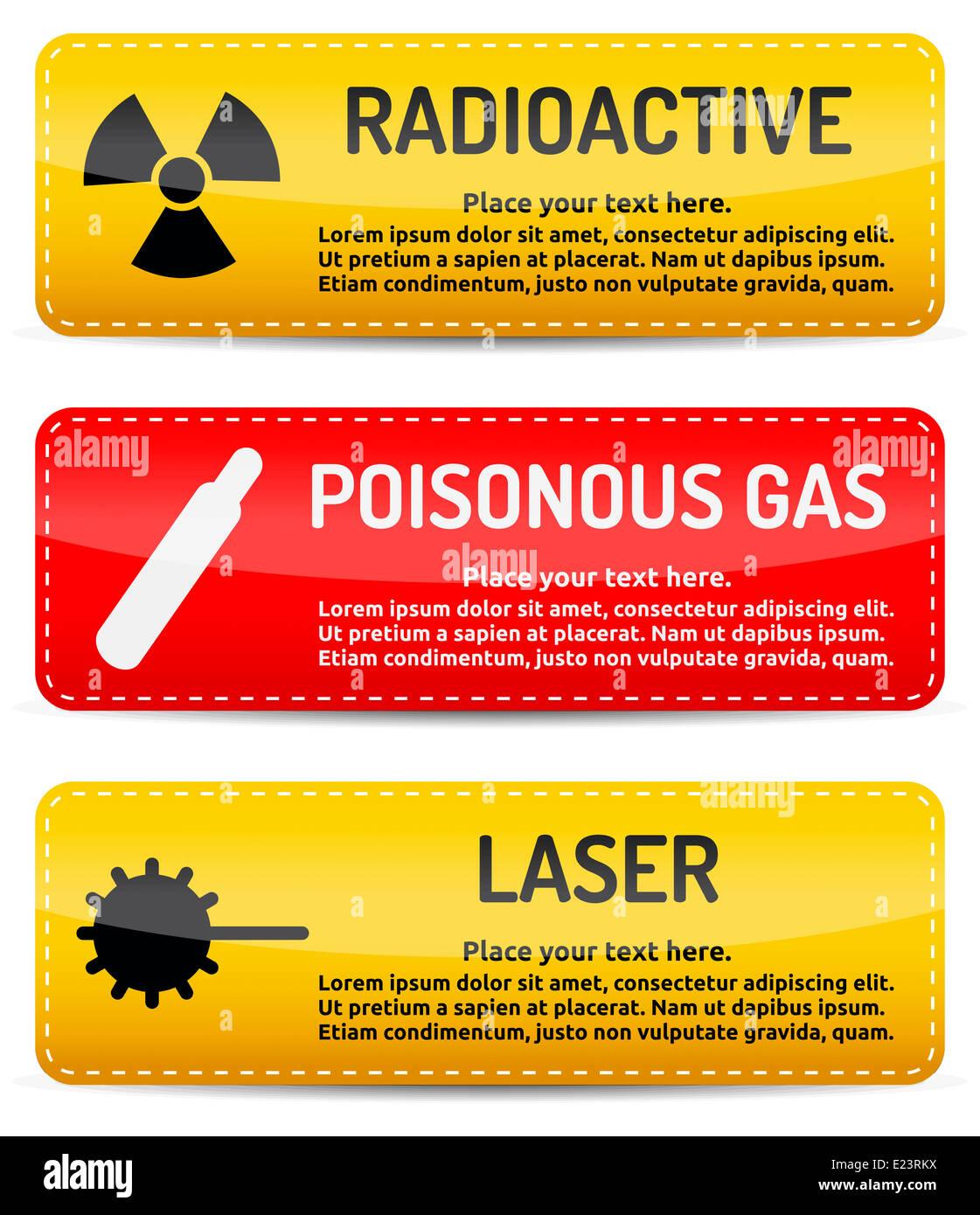 Gases tóxicos, radiactivos, señal de advertencia de peligro láser ...