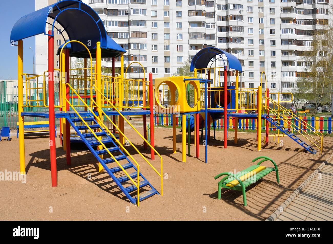 Zona De Juegos Para Ninos Dia Soleado De Verano De Madera Madera