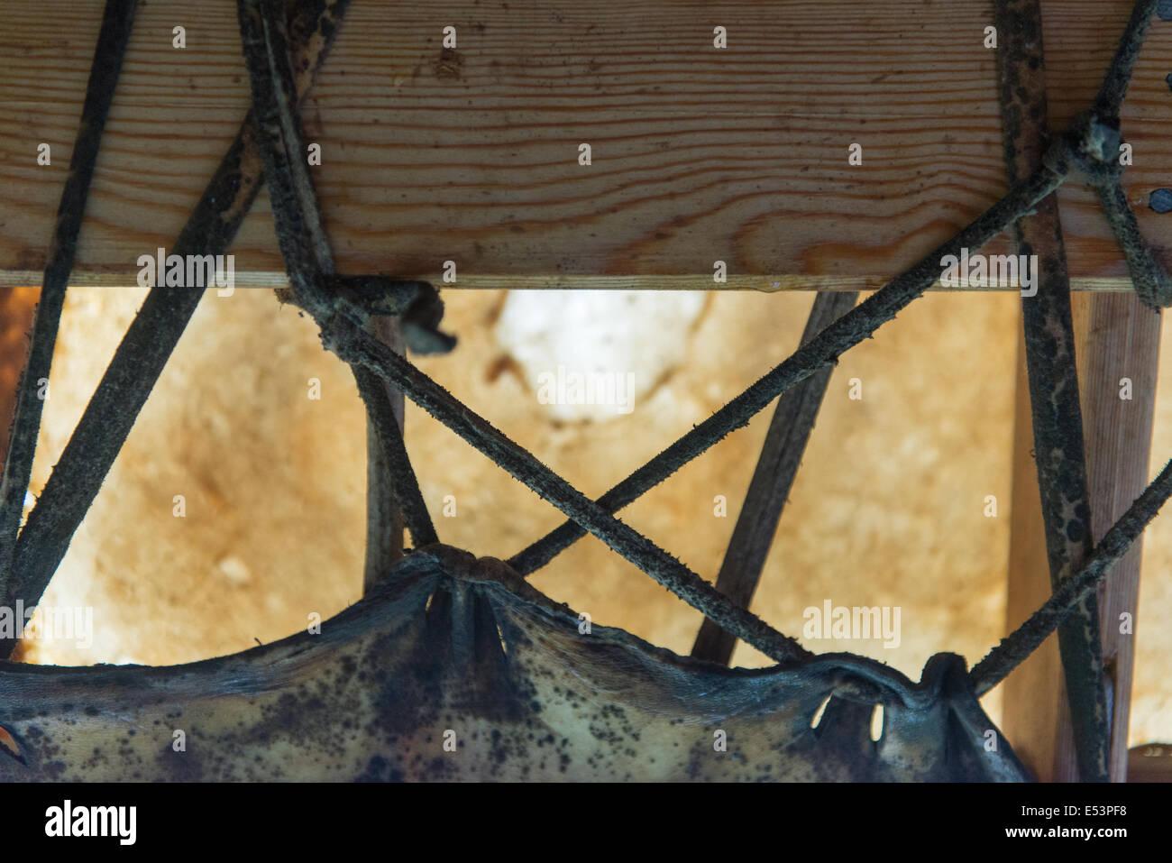 Detalle de un Inuit barco hecho de piel de foca y un marco de madera ...