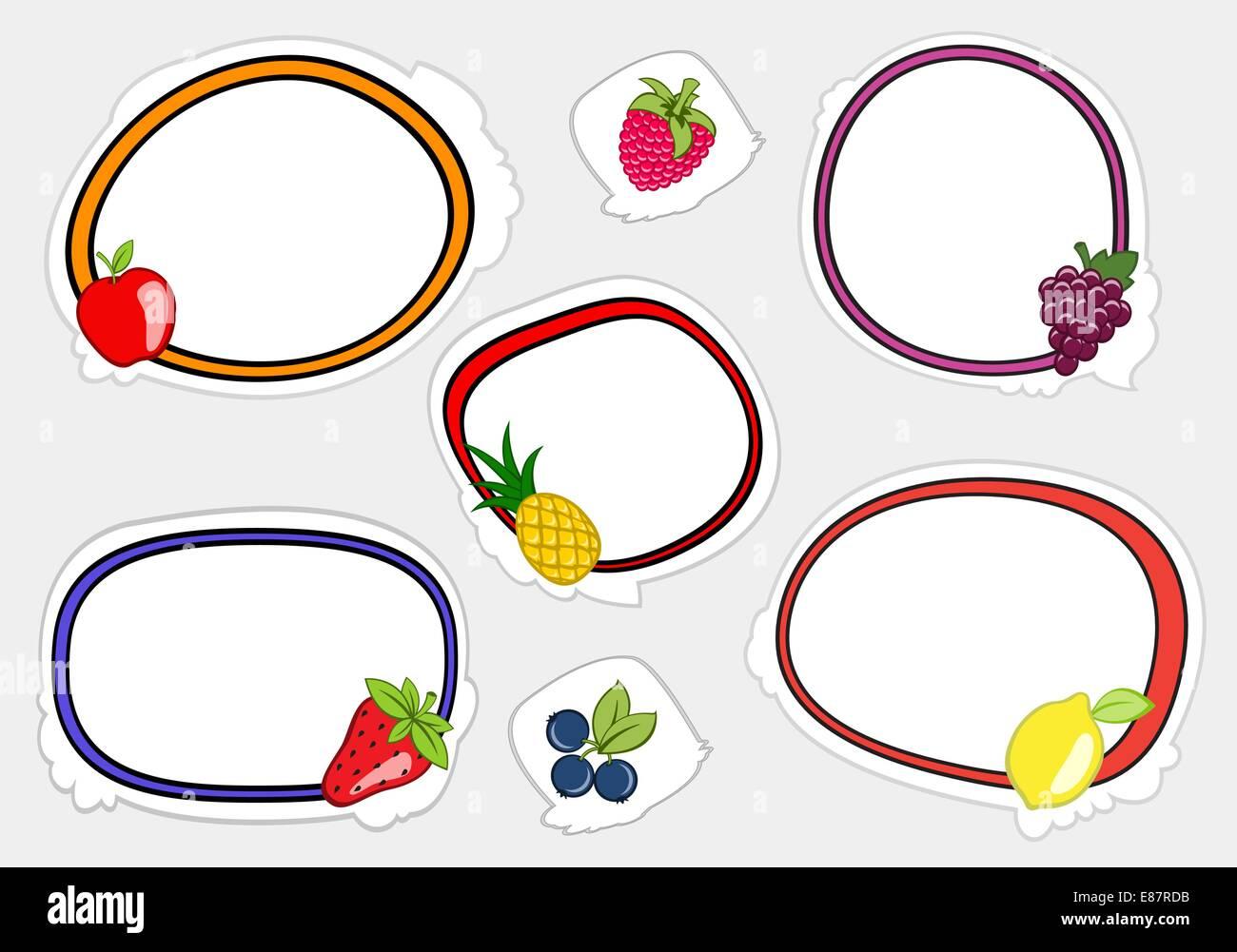 Ilustración vectorial de lindo estilo retro marcos en pegatinas con ...
