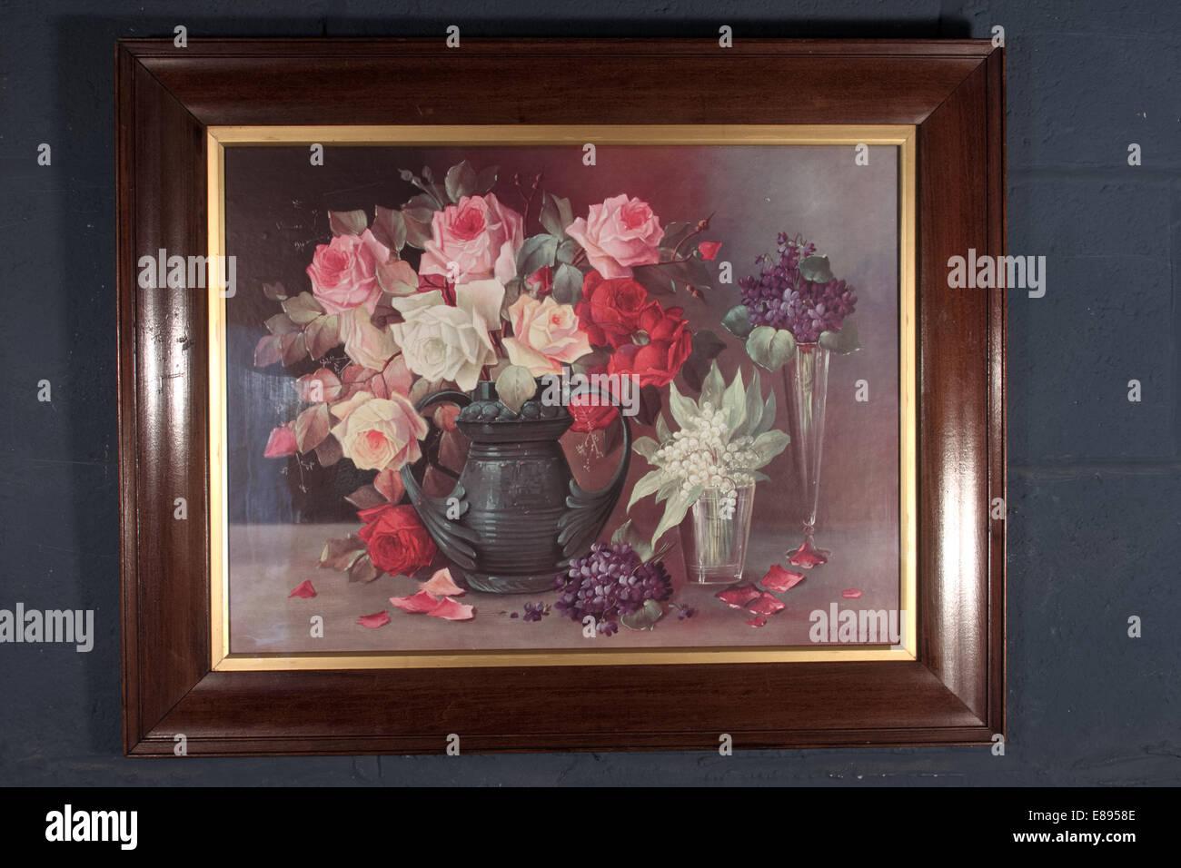 Aceite Floral pintura imprimir en marco dorado Foto & Imagen De ...