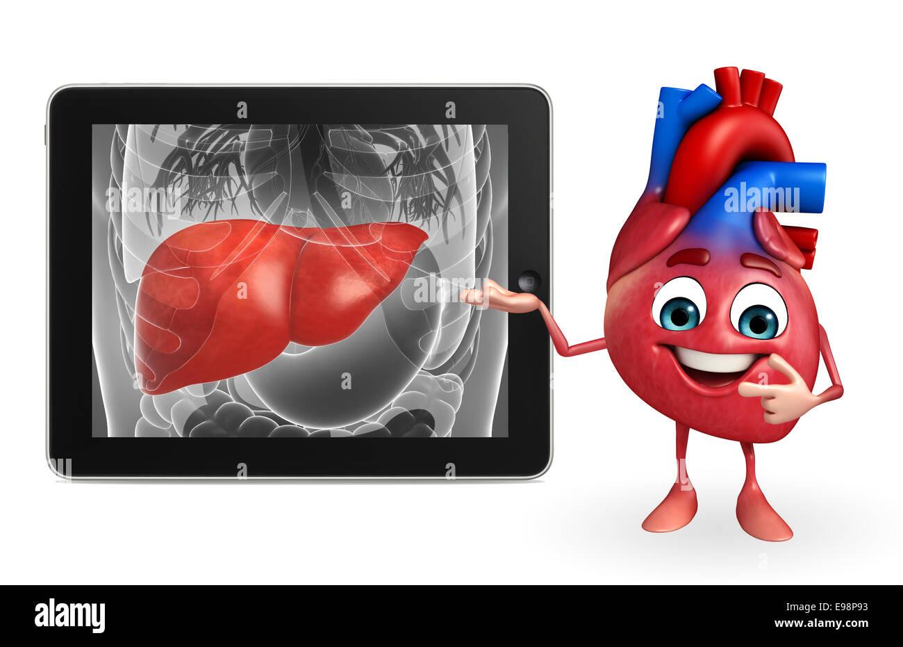 Personaje de dibujos animados de corazón con anatomía del hígado ...