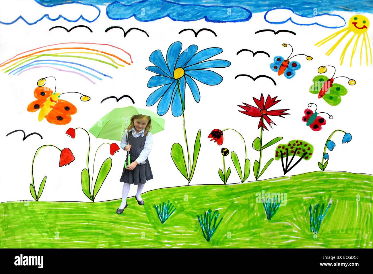 Dibujo Infantil Multicolor Con Mariposas Y Flores Y Nina Jugando Con