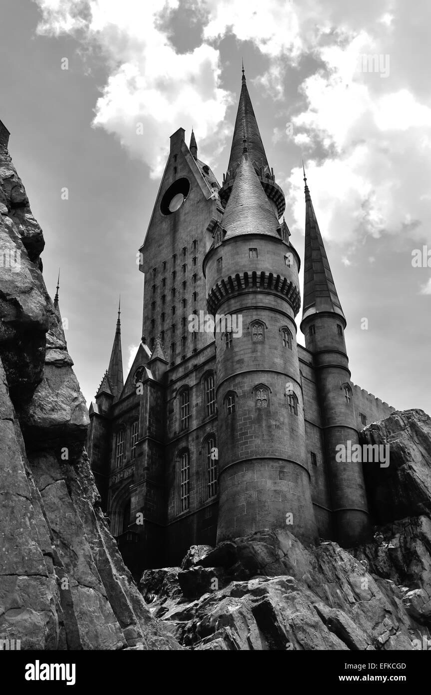 Imagen En Blanco Y Negro De La Escuela Hogwarts De Magia Y