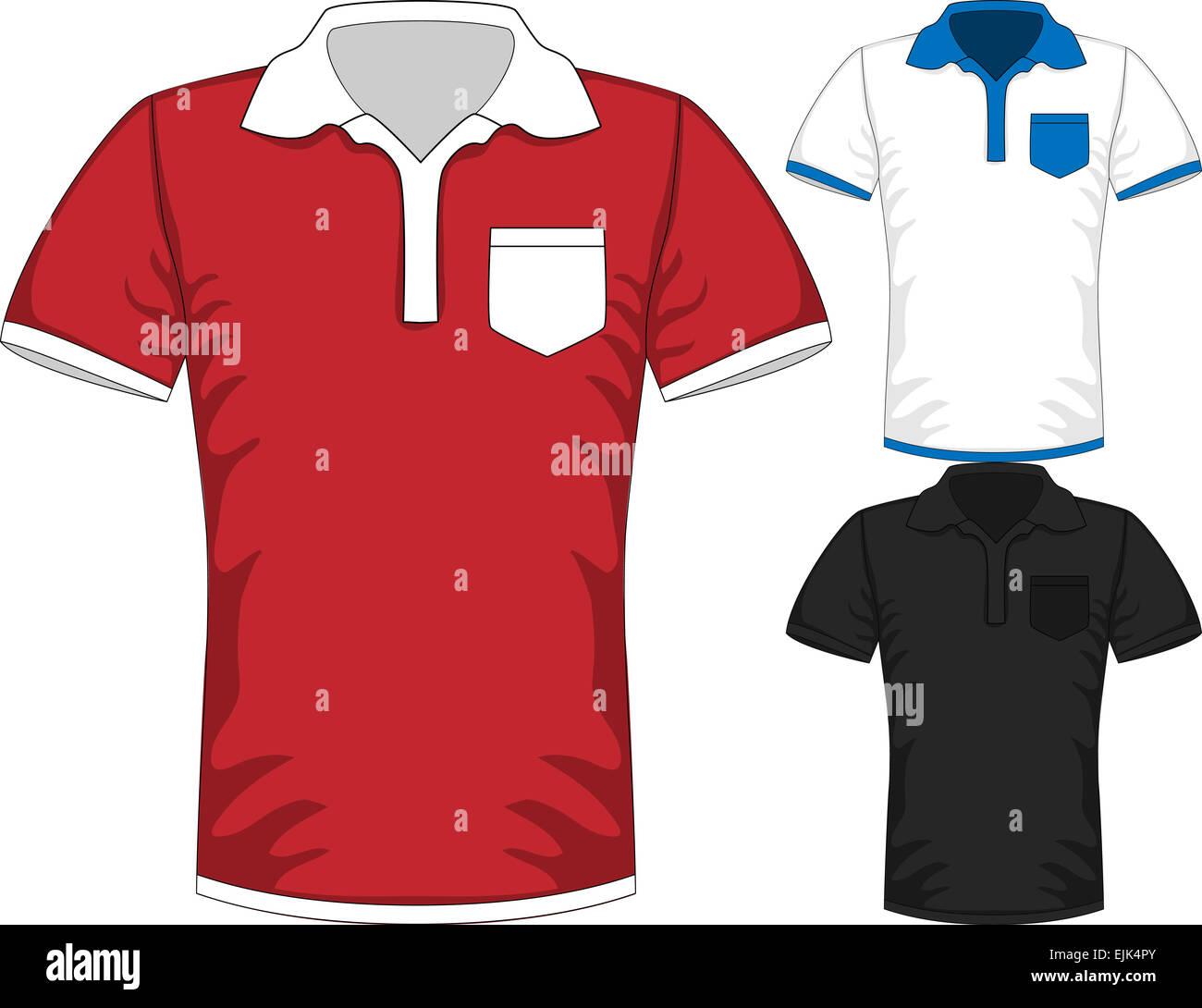 Vector Mens camiseta de manga corta polo plantillas de diseño Foto ... 200e5d5e2af44