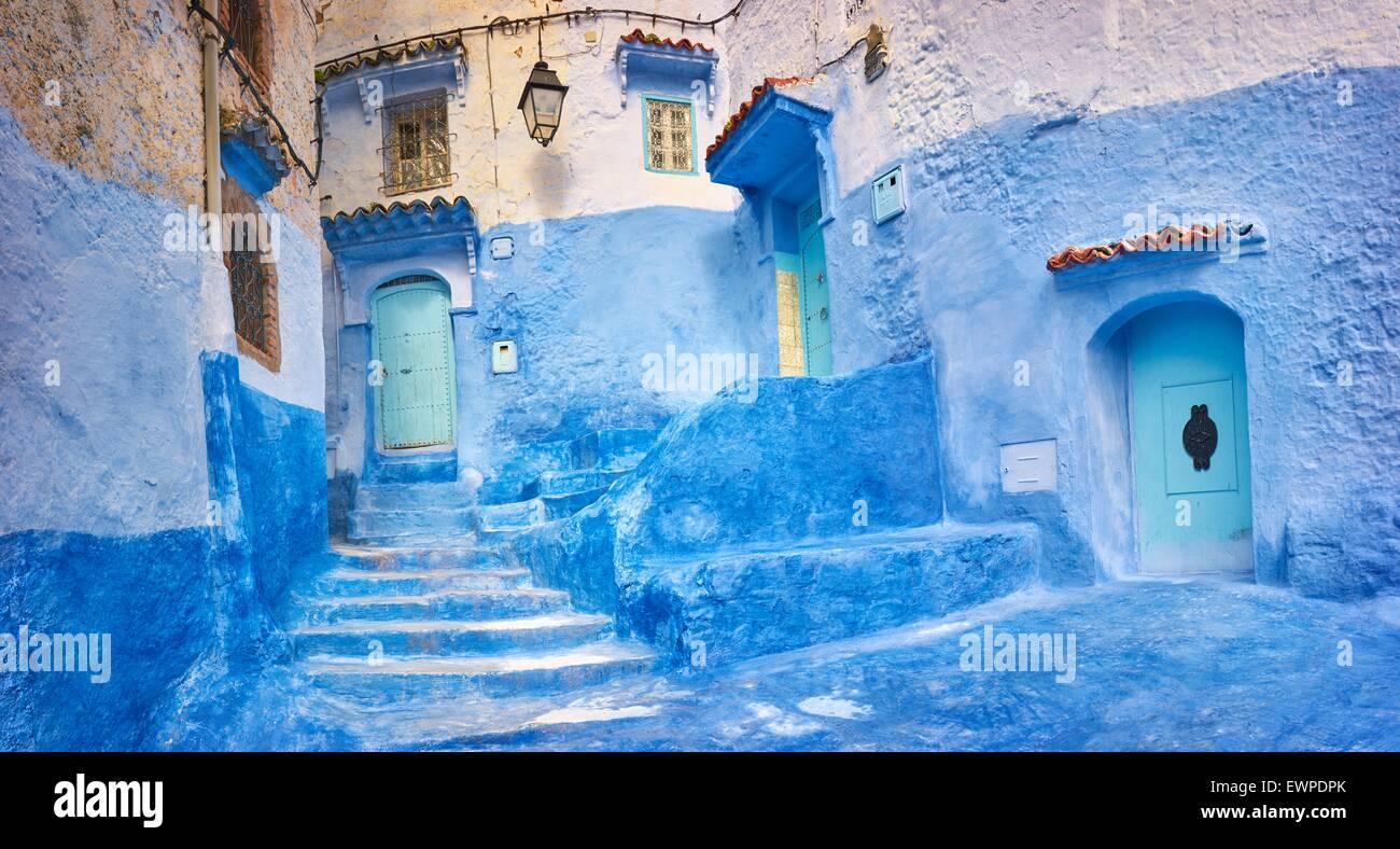 Marruecos Las Paredes Pintadas De Azul En La Antigua Medina De - Paredes-pintadas-de-azul