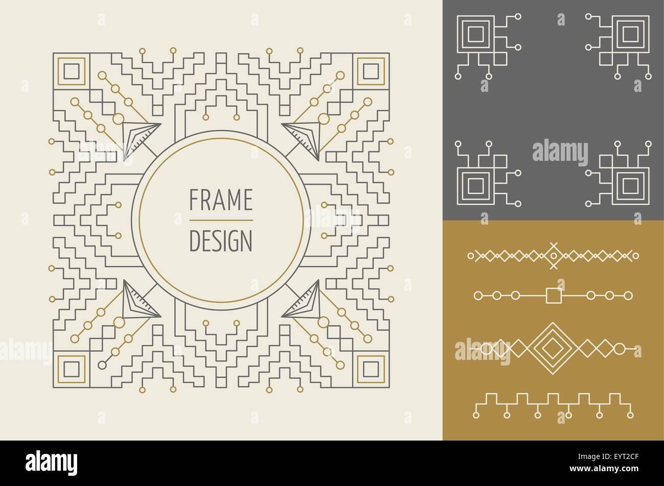 Vintage Retro hipster conjunto de diseño de línea monograma marcos y ...