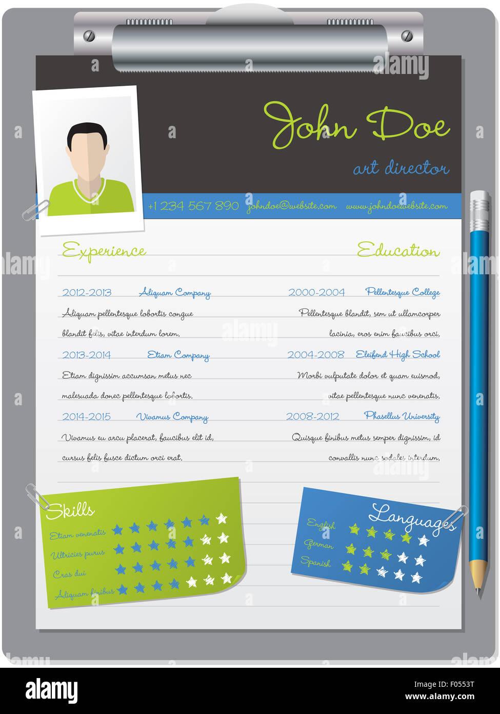 Cool Curriculum Vitae Cv Resume Imágenes De Stock & Cool Curriculum ...