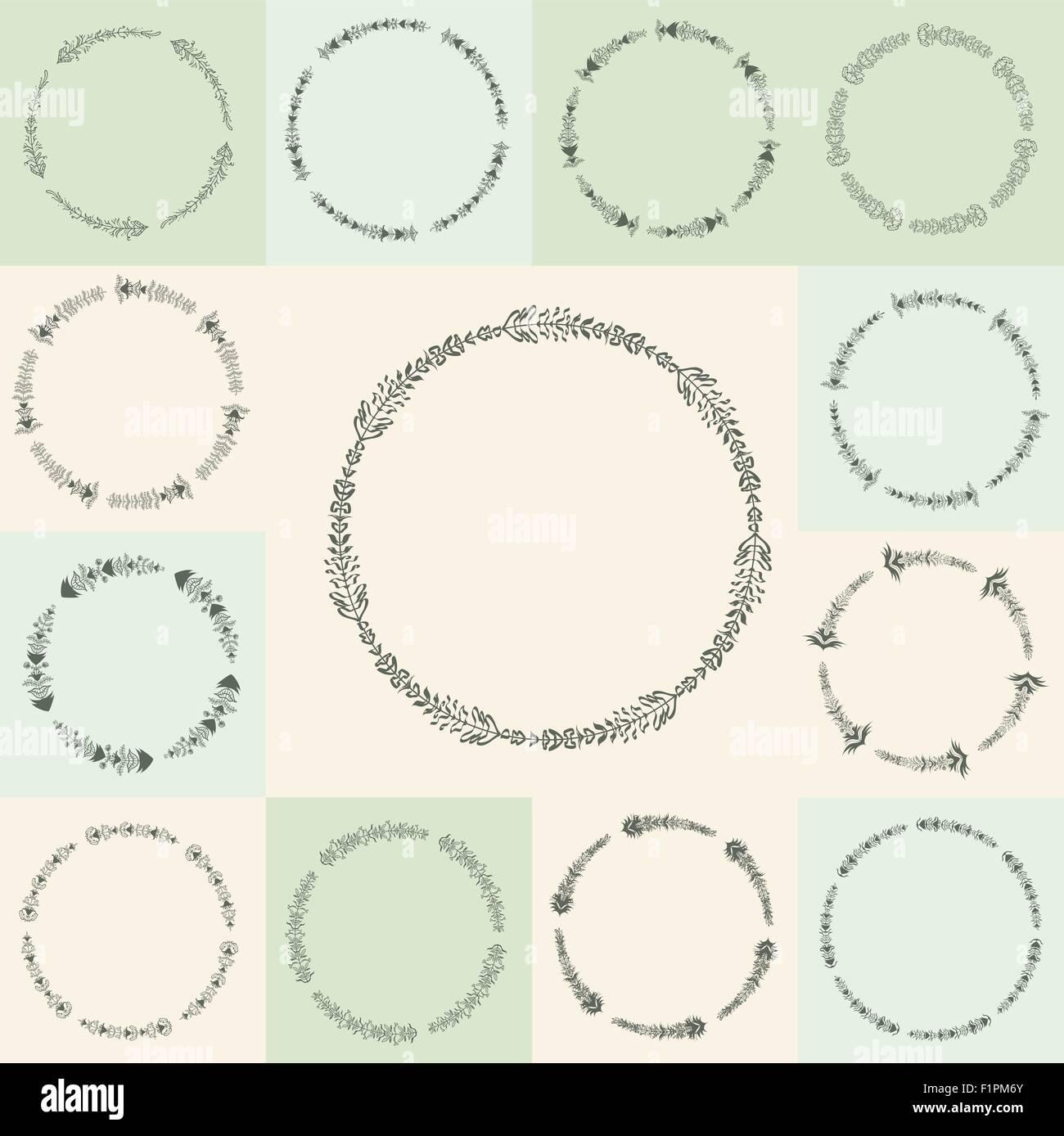 Conjunto de 13 vector dibujado a mano florecer círculo y marcos ...