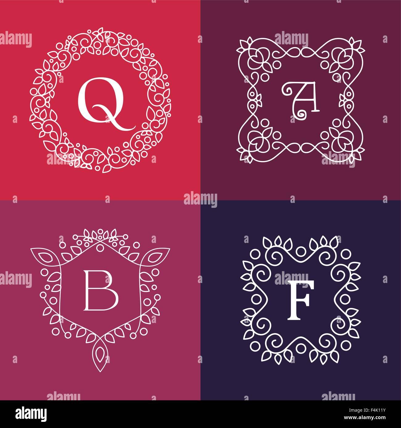 Ornamento monograma estilo floral de línea mono carta de conjunto de ...