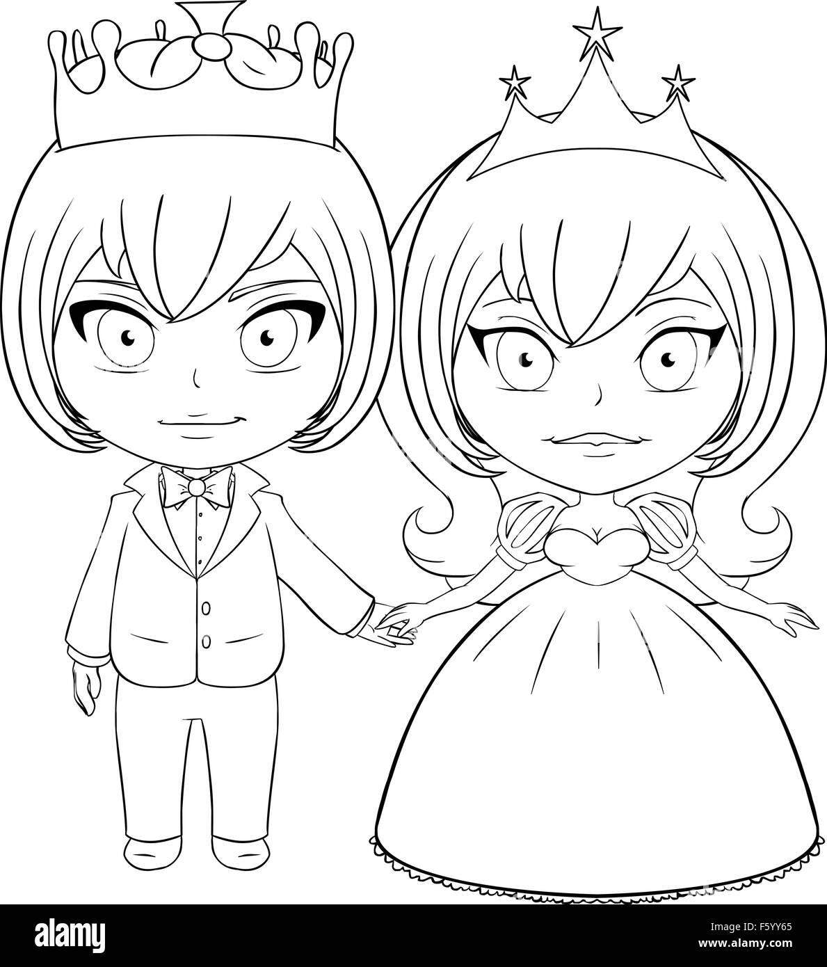 Página para colorear la ilustración vectorial de un príncipe y la ...