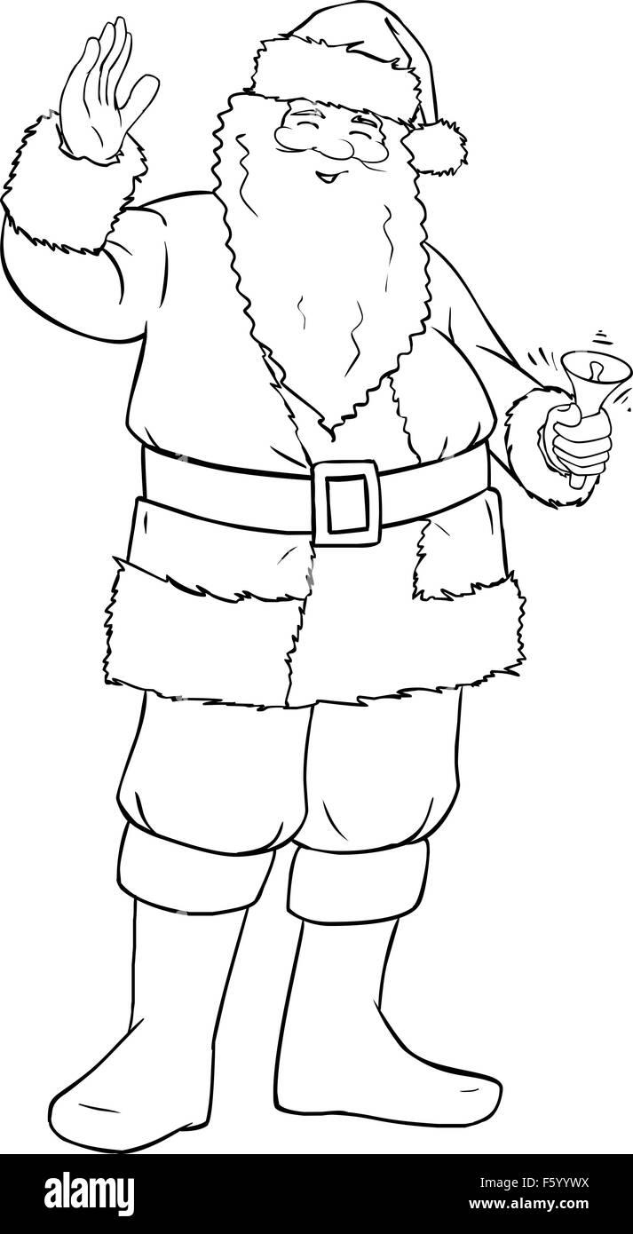 Página para colorear la ilustración vectorial de Santa Claus ...