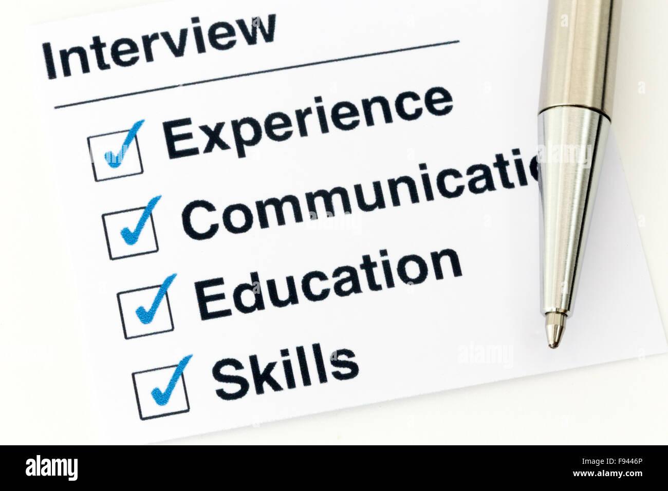 Lista de comprobación de la entrevista de trabajo con requisitos ...