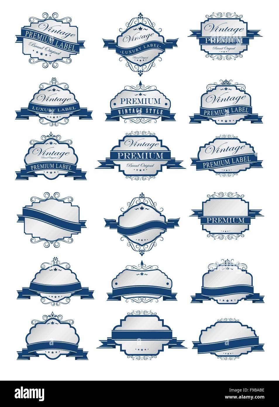 Etiquetas azules de lujo y plantilla de etiquetas en blanco ...