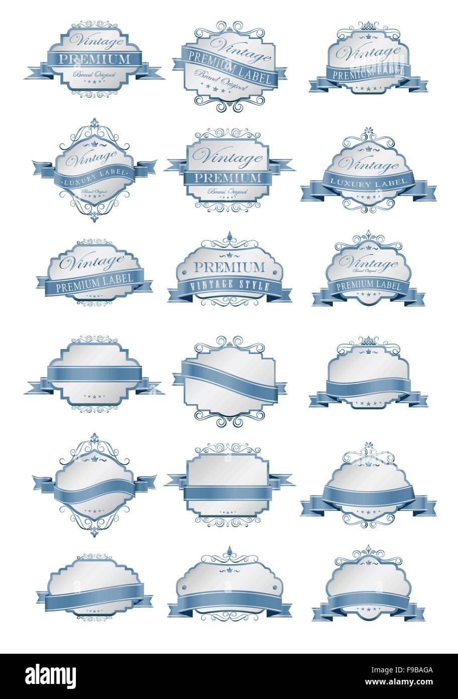 Lujo etiquetas azul suave y plantilla de etiquetas en blanco ...