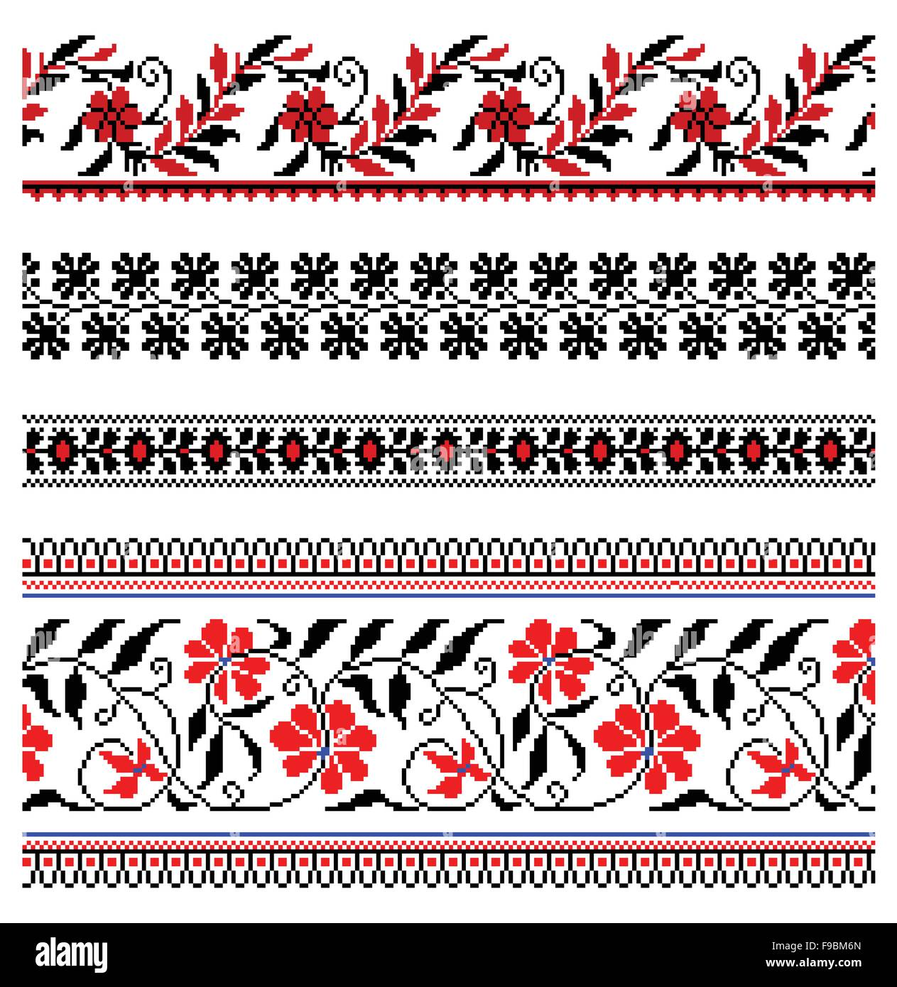Ilustraciones de vectores de Ucrania ornamentos bordados, patrones ...