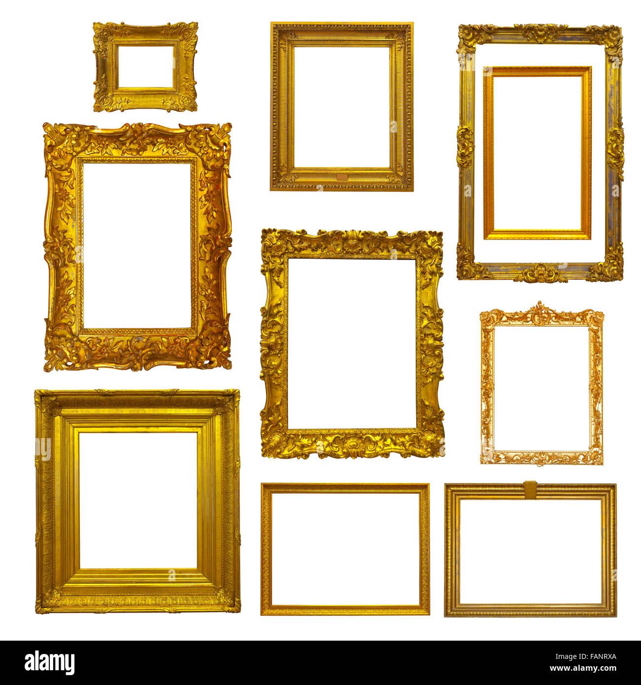 Conjunto de marcos de imagen de oro sobre blanco Foto & Imagen De ...