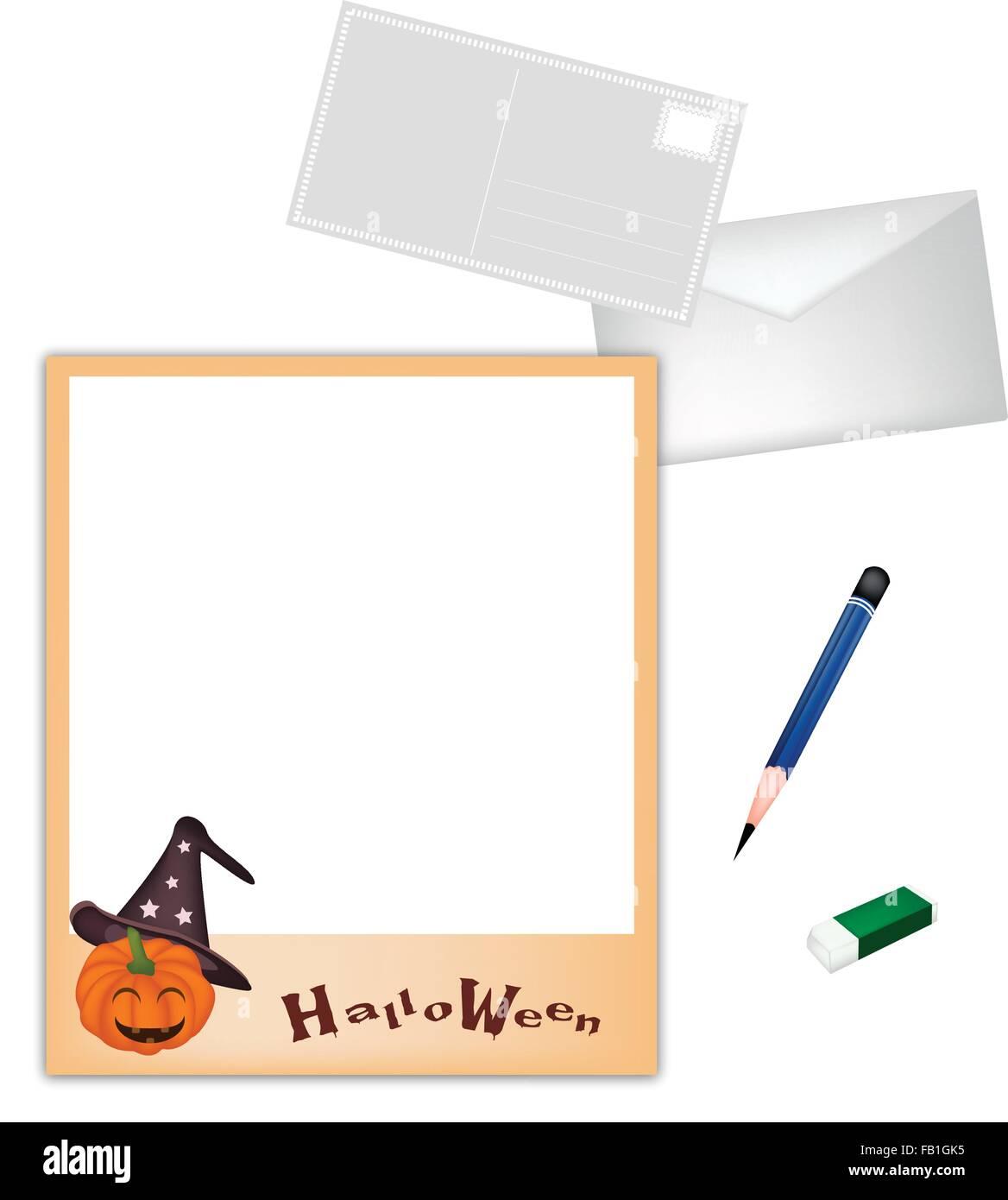 Un lápiz afilado y borrador acostado en Happy Jack-o-lantern ...