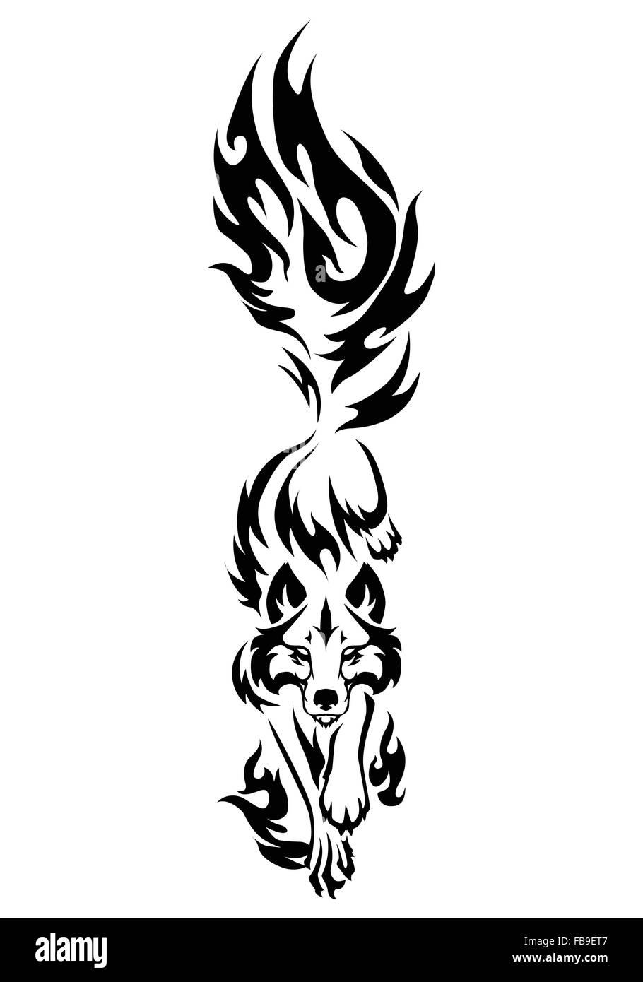 Ilustración De Wolf Aislados De Tatuaje En Blanco Y Negro Sobre