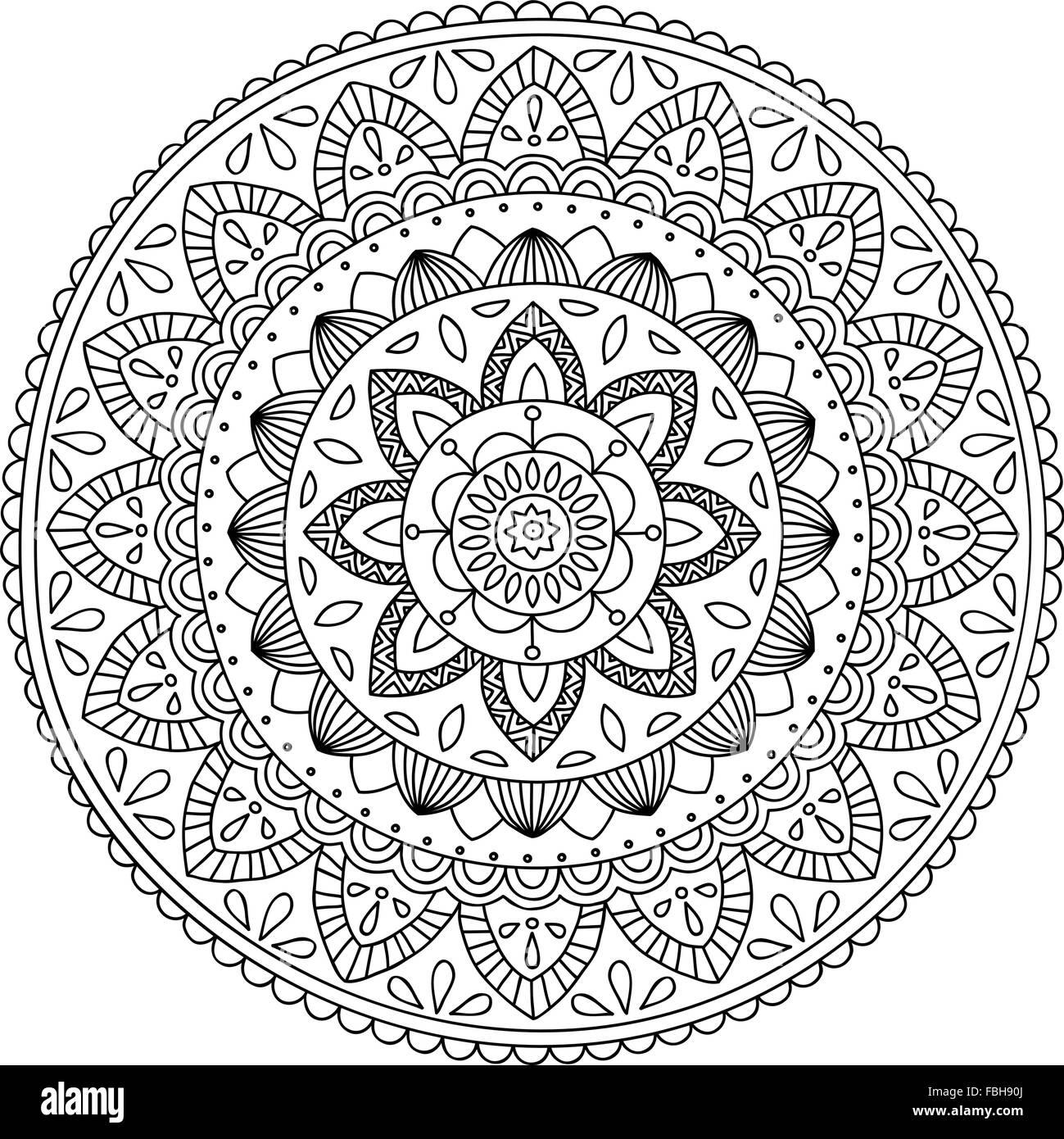 Mandala handdrawn detallado, perfecto para colorear Ilustración del ...