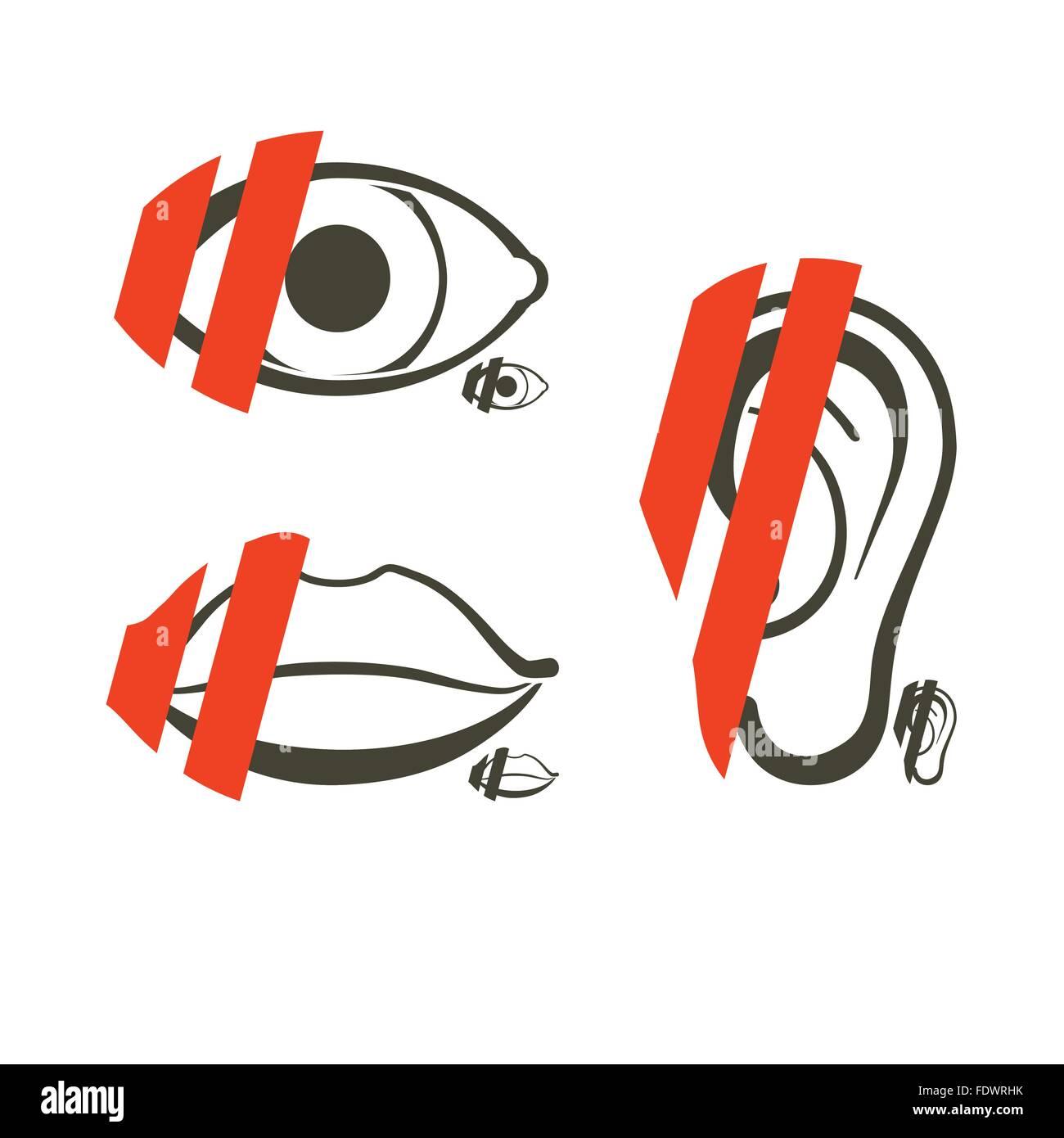 Símbolos de anatomía humana para interdicción o indisponibilidad o ...