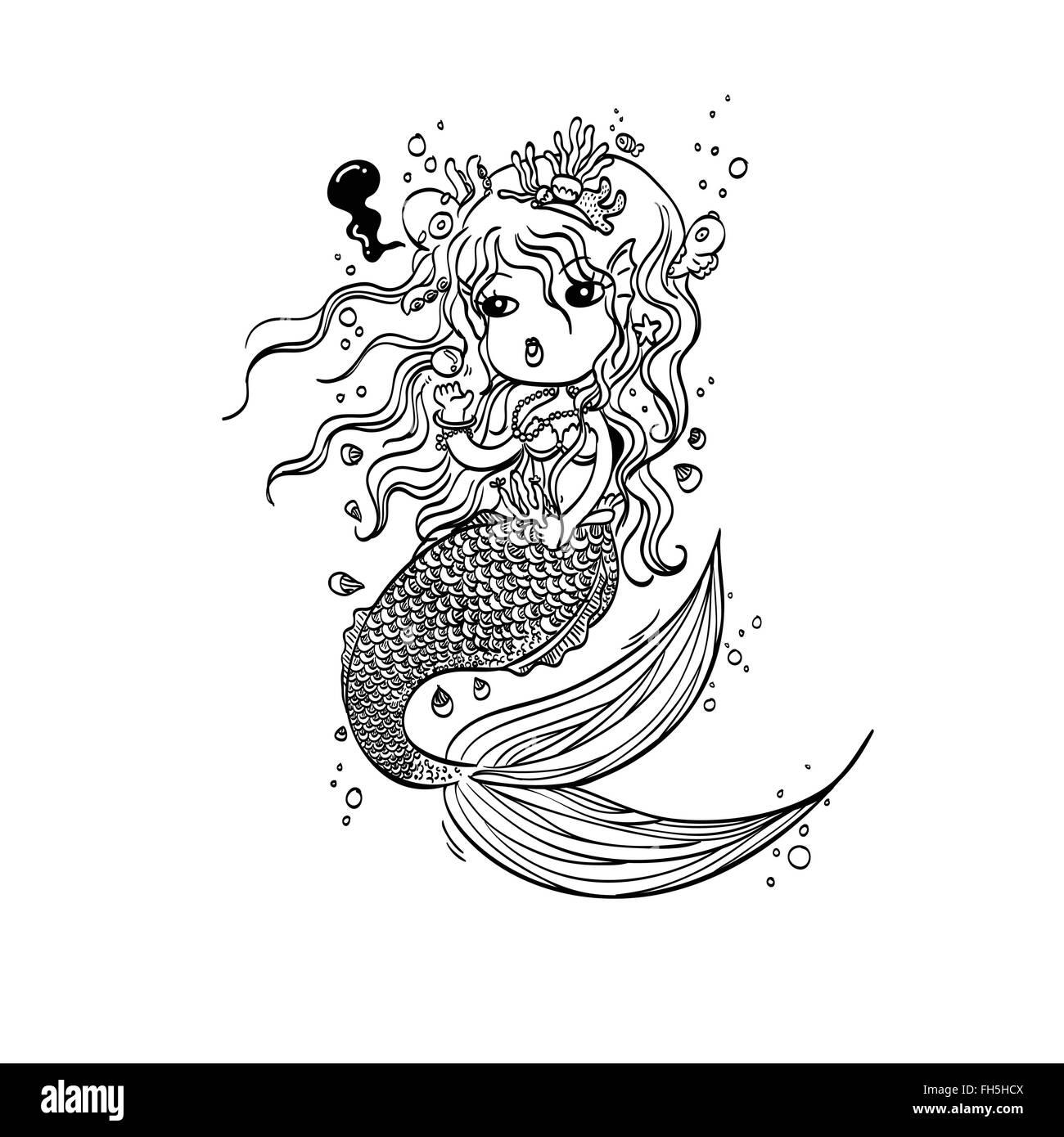 Ilustración vectorial de la Sirenita bajo el mar dibujadas a mano ...