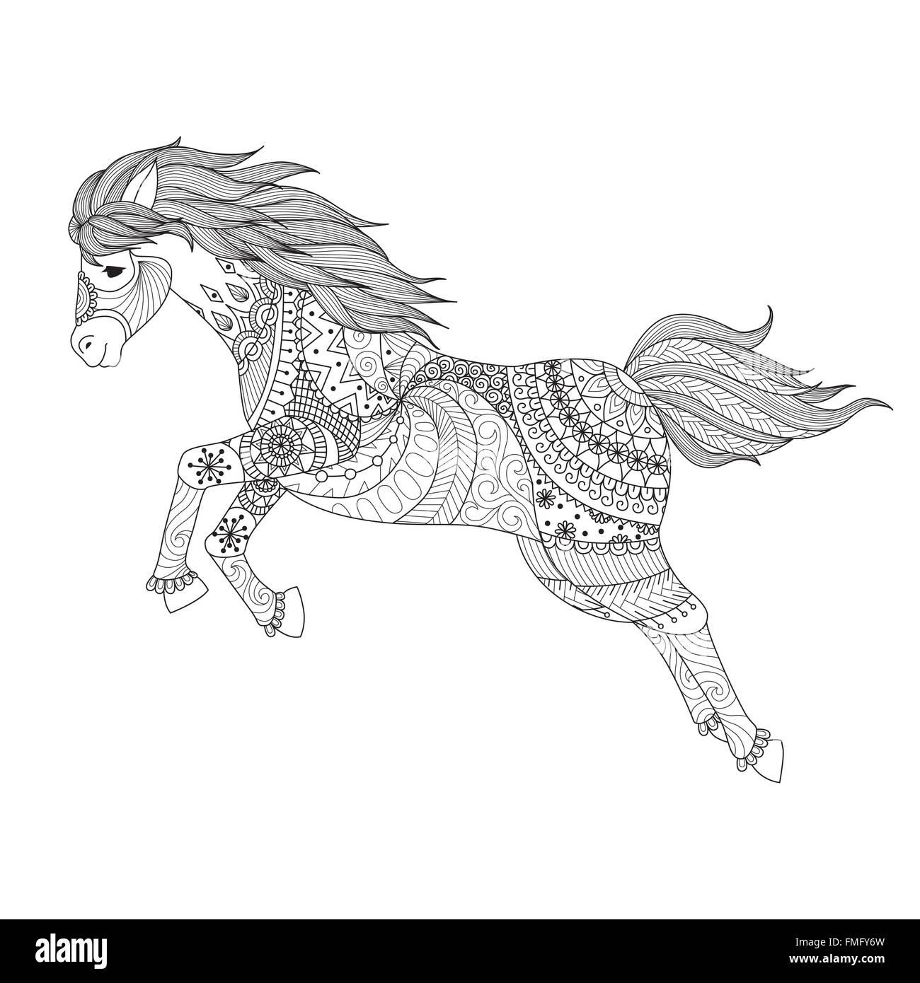Dibujo De Caballo De Salto De Estilo Zentangle Coloring Book Para