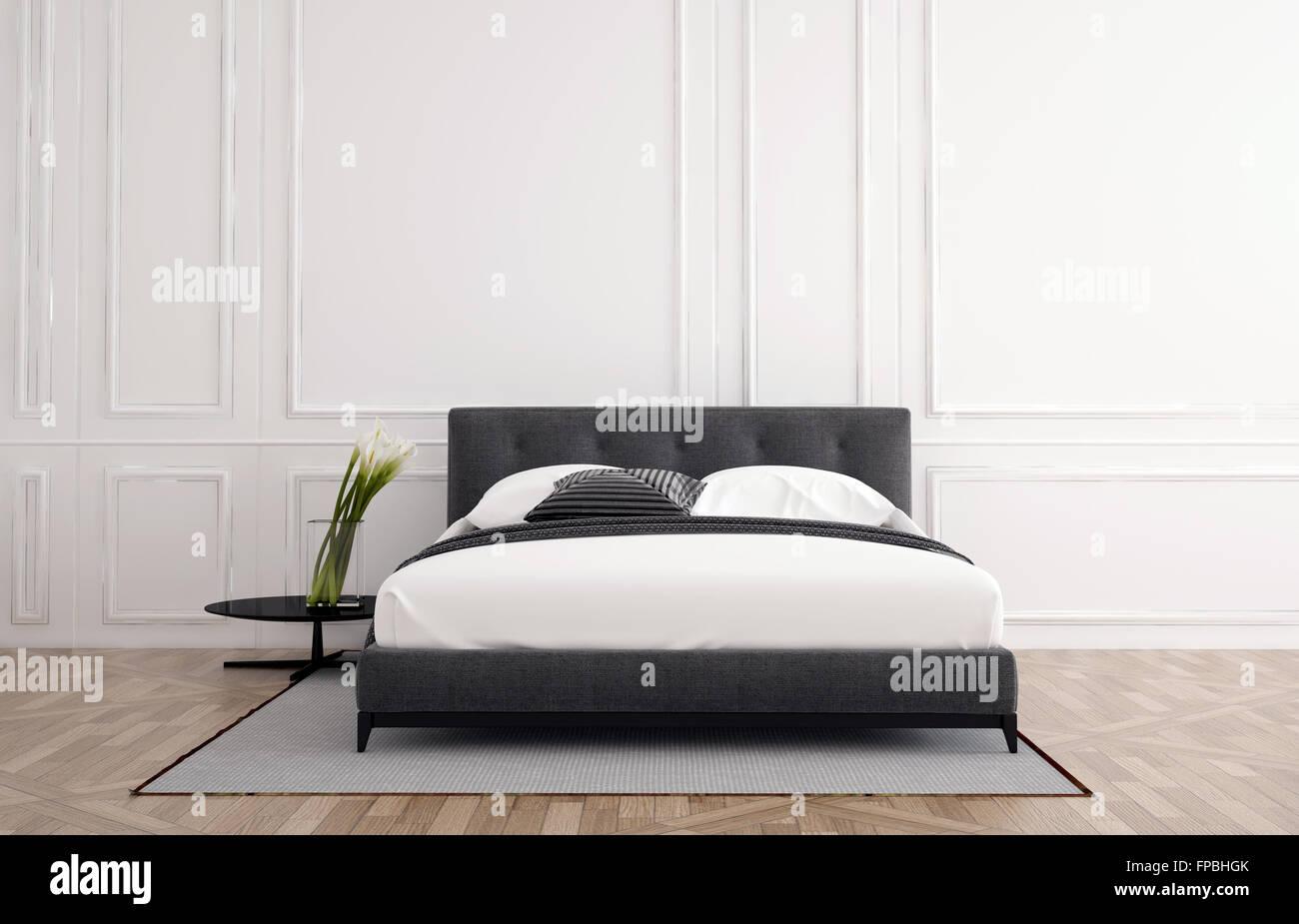 Dormitorio minimalista elegante interior con revestimientos de ...