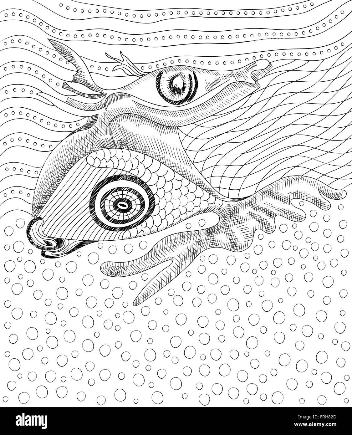 Dibujo a mano alzada, surrealista, peces y ballenas plantilla ...