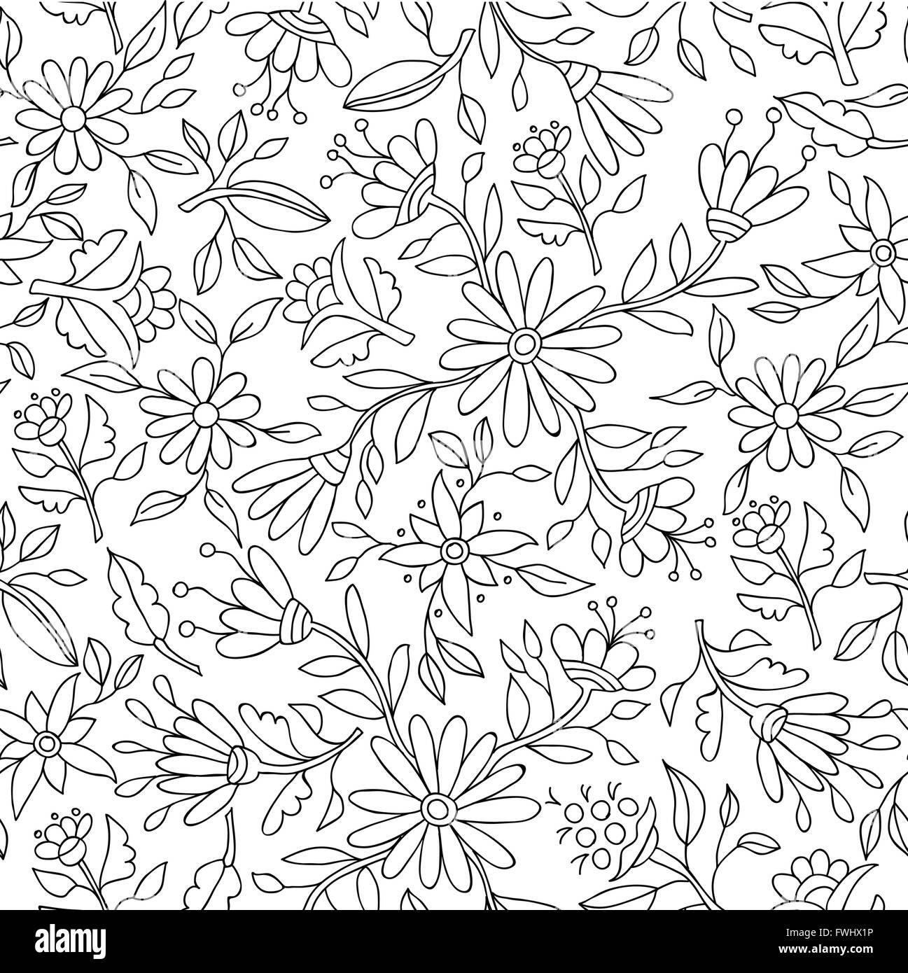 Primavera florales de trama de fondo en blanco y negro con flor de ...