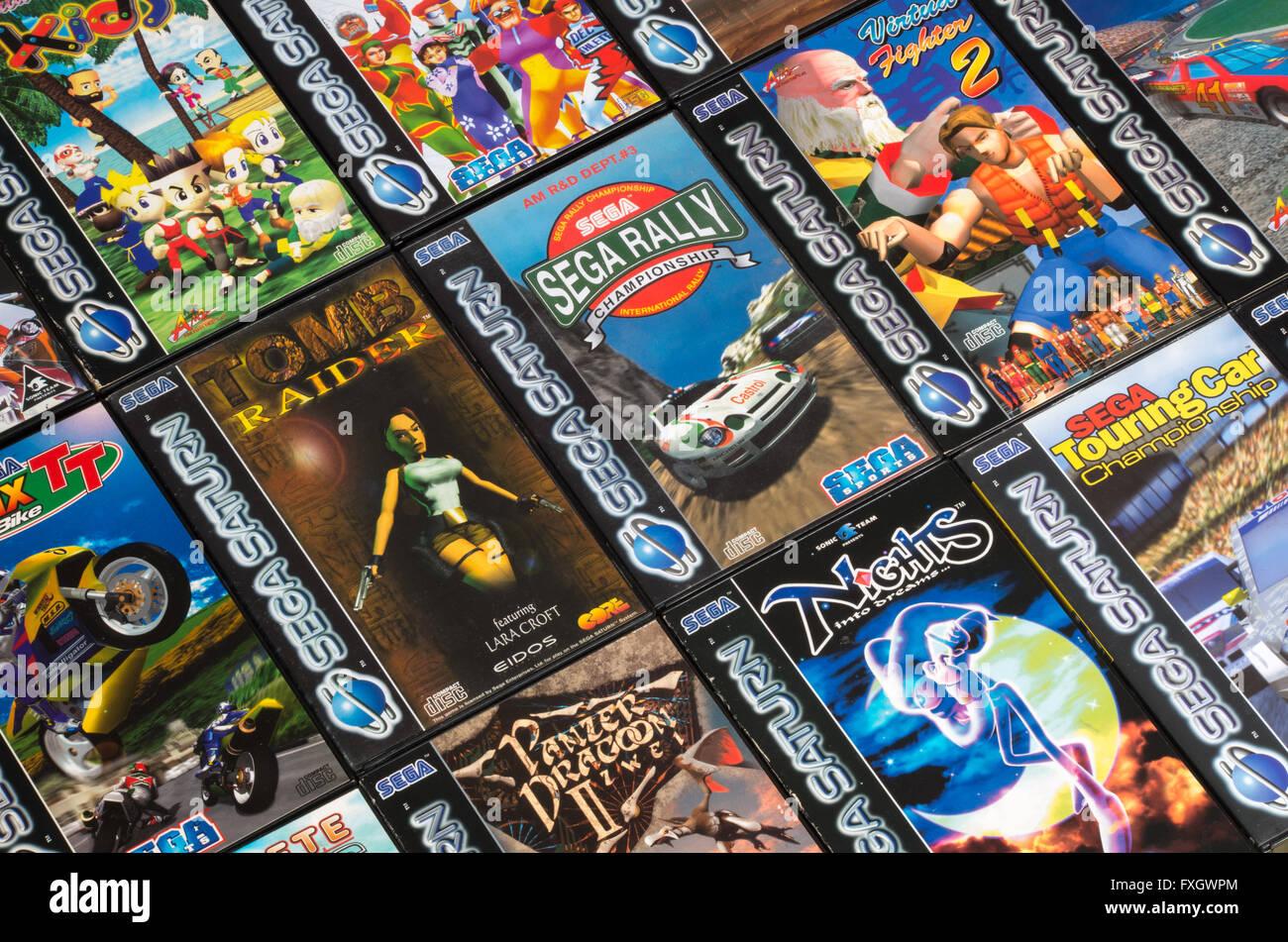 Pal Sega Saturn Juegos Establecidos En Una Cuadricula Incluyendo