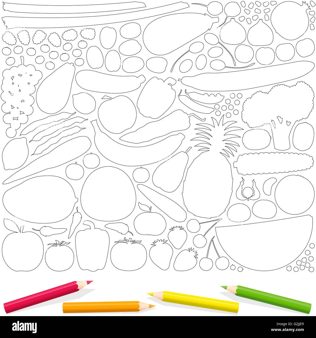 Frutas y verduras de esquema, con cuatro páginas para colorear ...