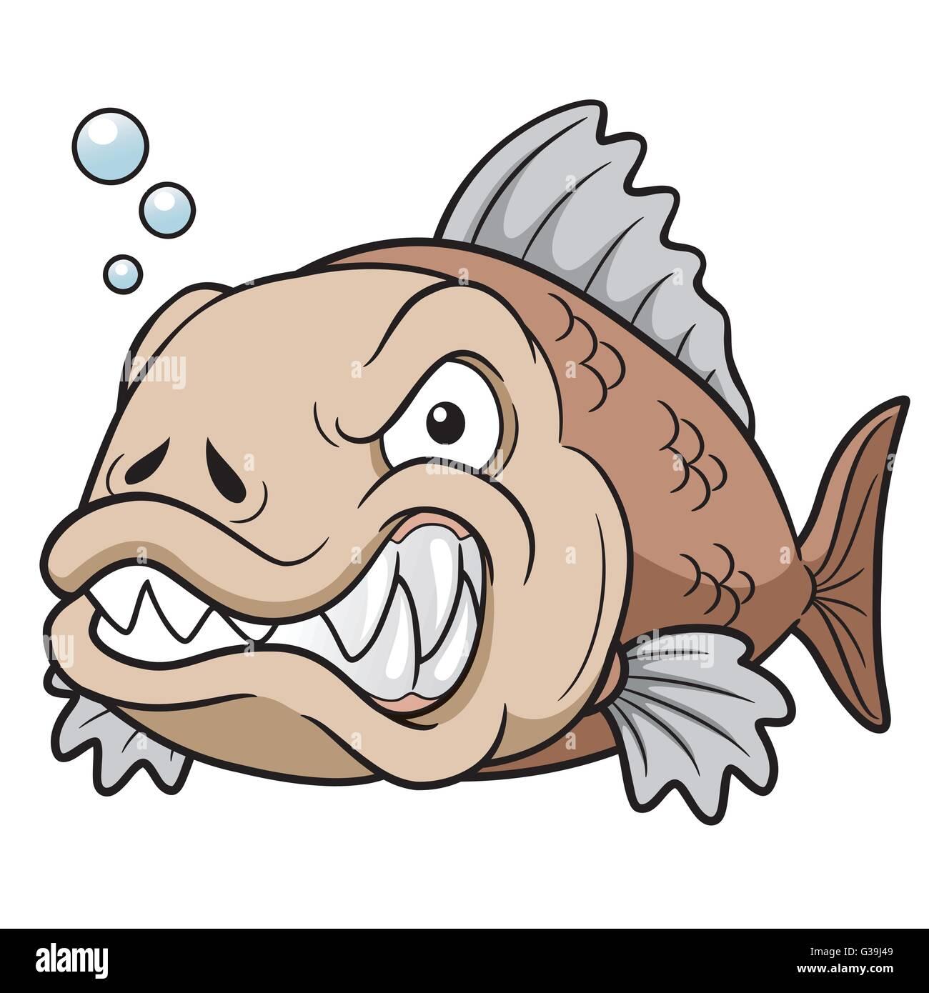 Ilustración vectorial de dibujos animados peces enojado Ilustración ...