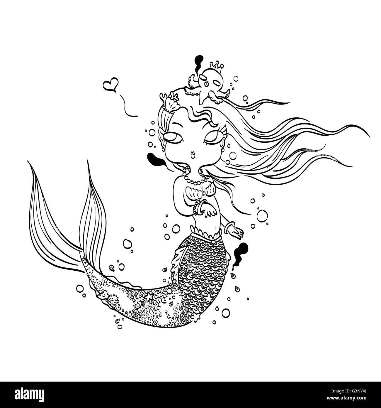 Ilustración vectorial de una encantadora Sirenita bajo el mar ...