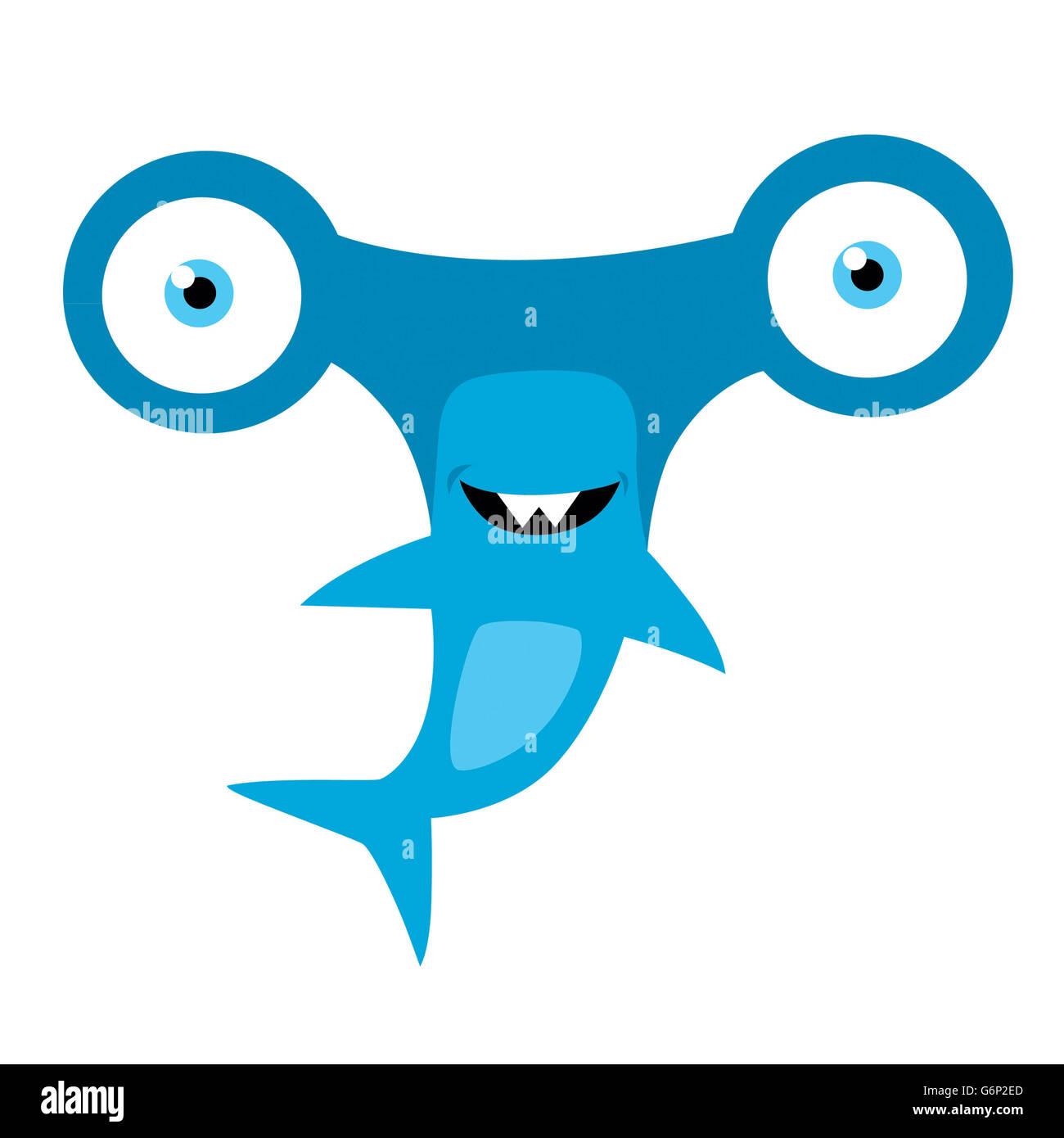 Tiburón martillo mascota Vector Foto & Imagen De Stock: 107435061 ...