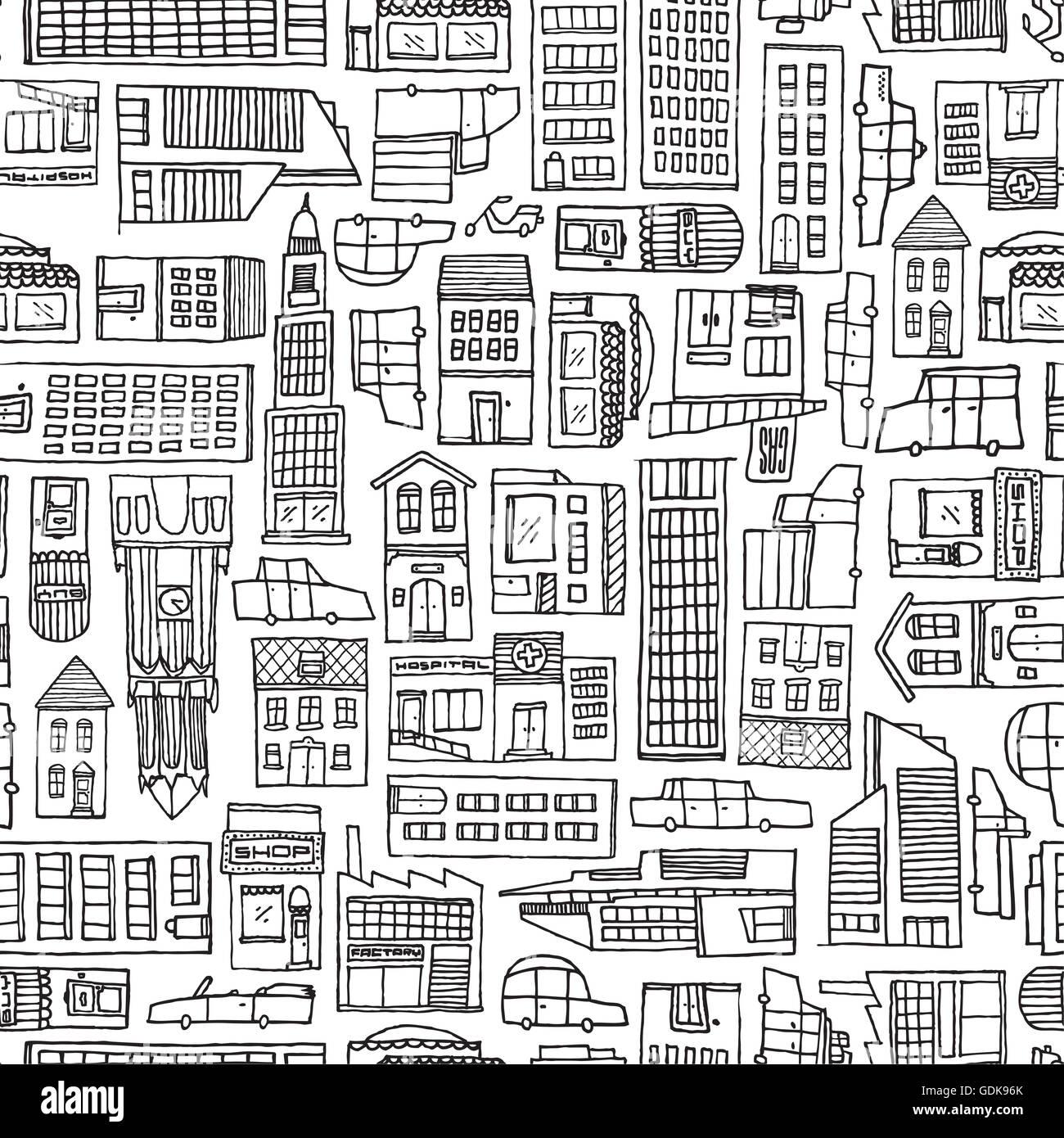 Ilustración de dibujos animados fondo de automóviles y edificios ...
