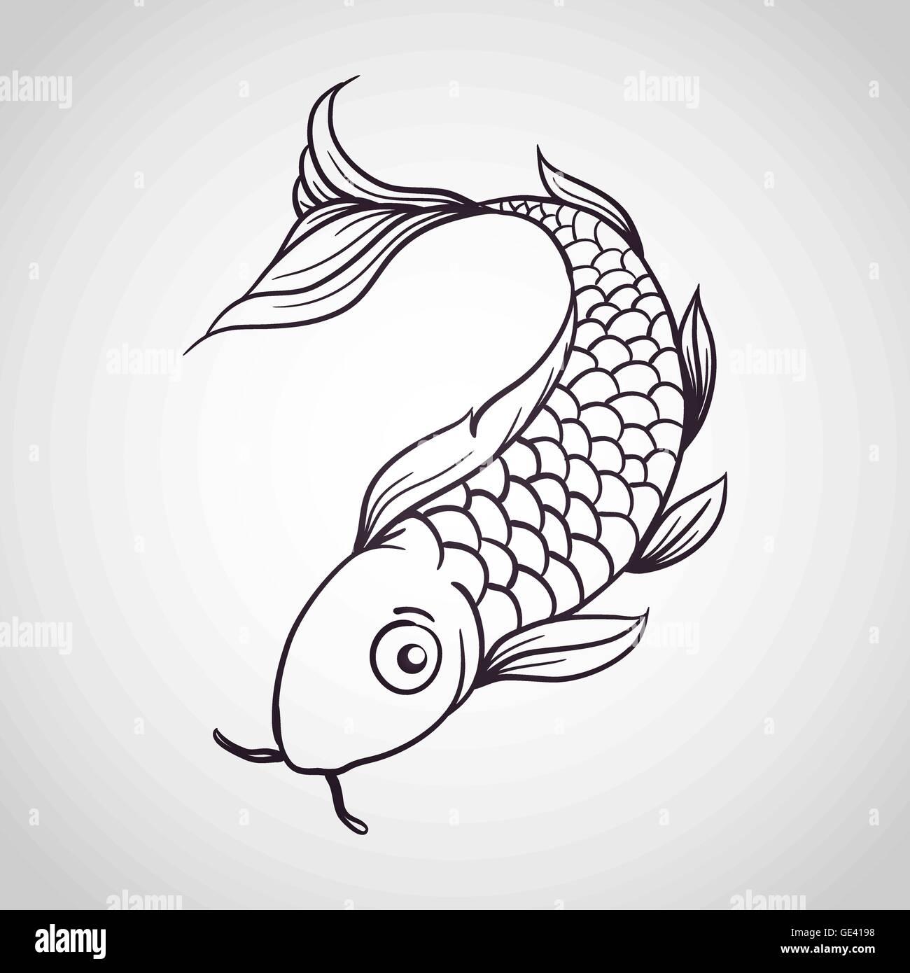Peces Koi vector logo Ilustración del Vector, Imagen: 111956244 - Alamy