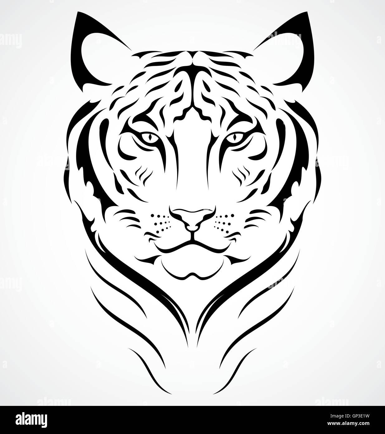 Diseño De Tatuaje De Tigre De Bengala Ilustración Del Vector Imagen