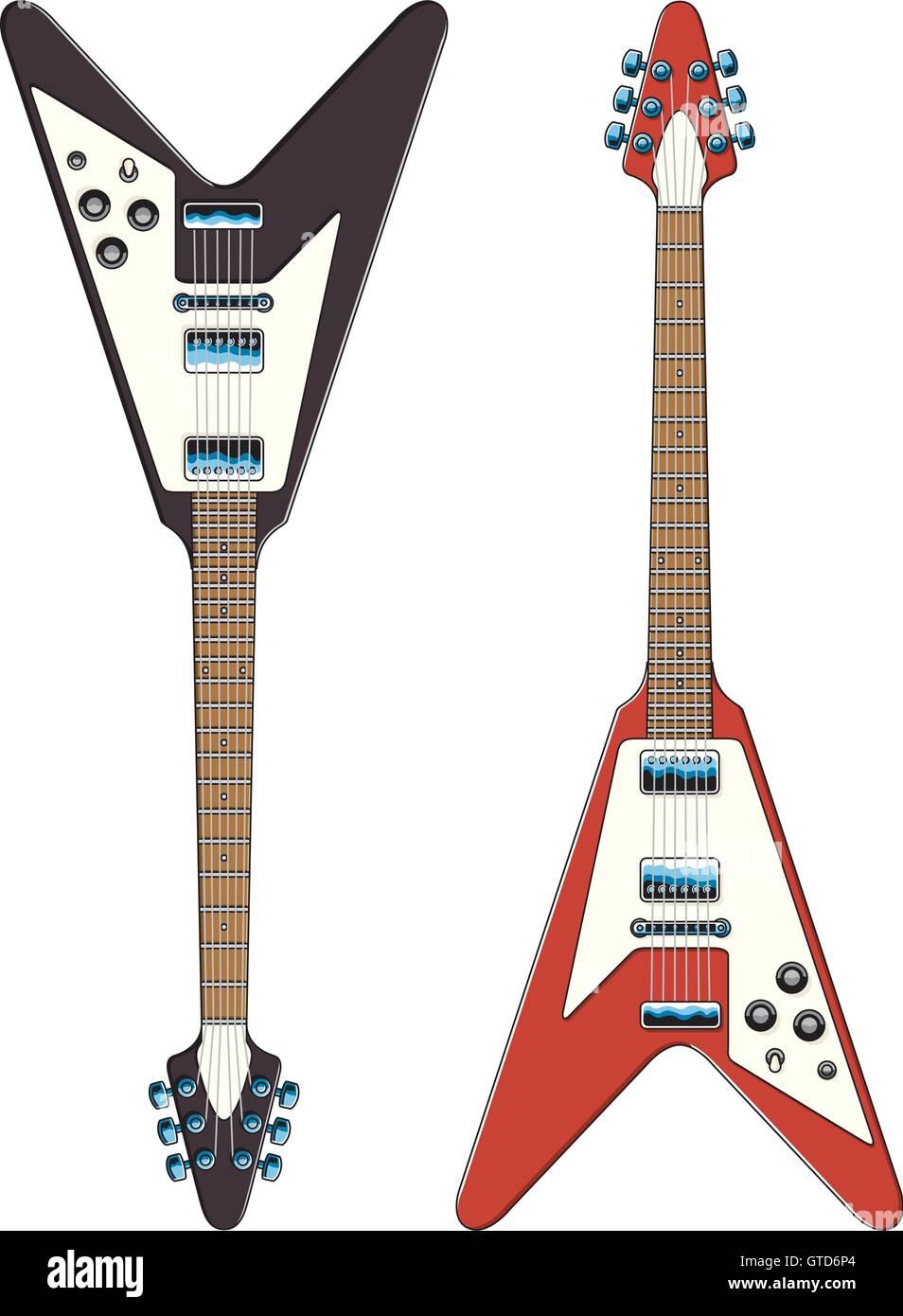 Guitarra Ilustración Vectorial Los Dibujos Vectoriales De Flying V