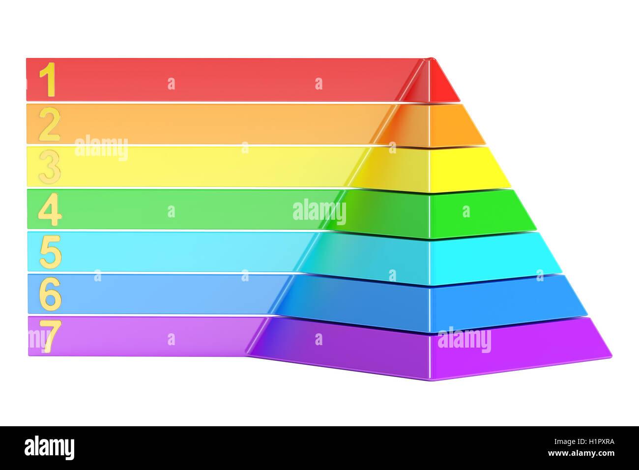 pirámide con los niveles de color gráfica de pirámide 3d rendering
