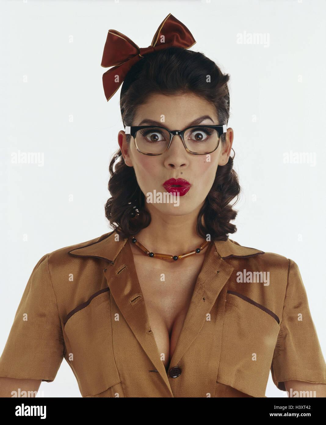 Mujer Gafas Bucle Pelo Cara Se Sorprende Sorpresas Retrato